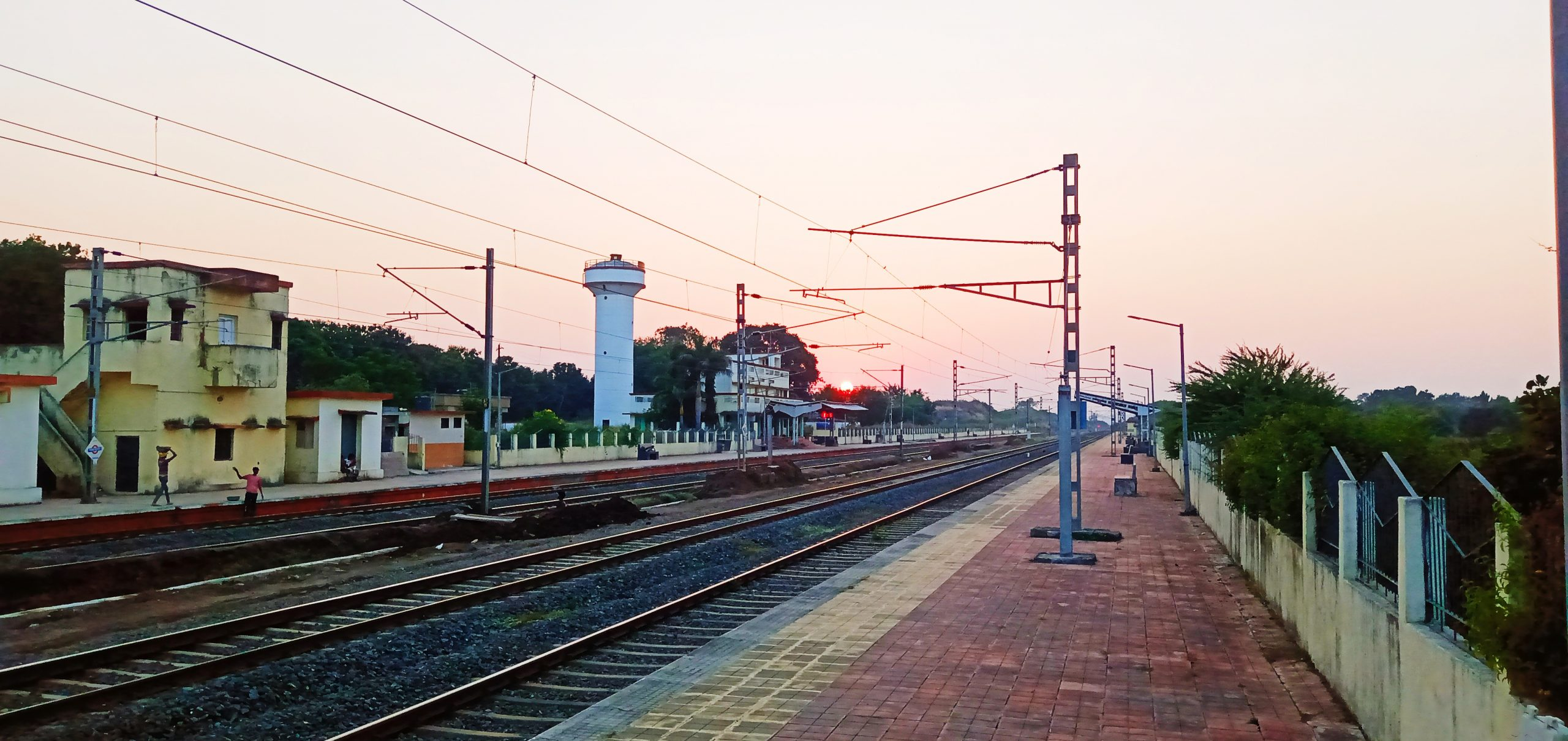 Railway tracks at a station
