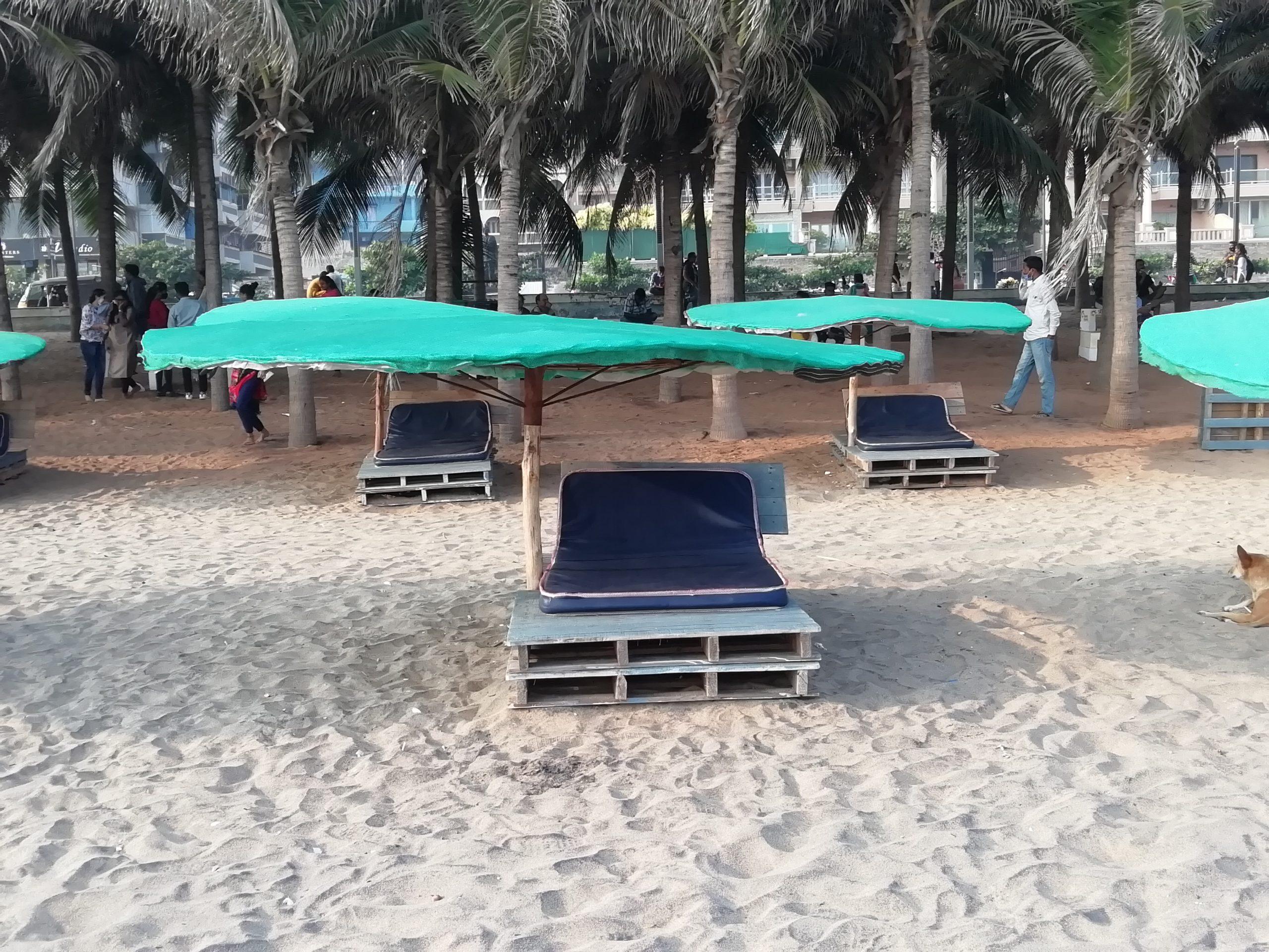 Beach chairs at Ramakrishna beach