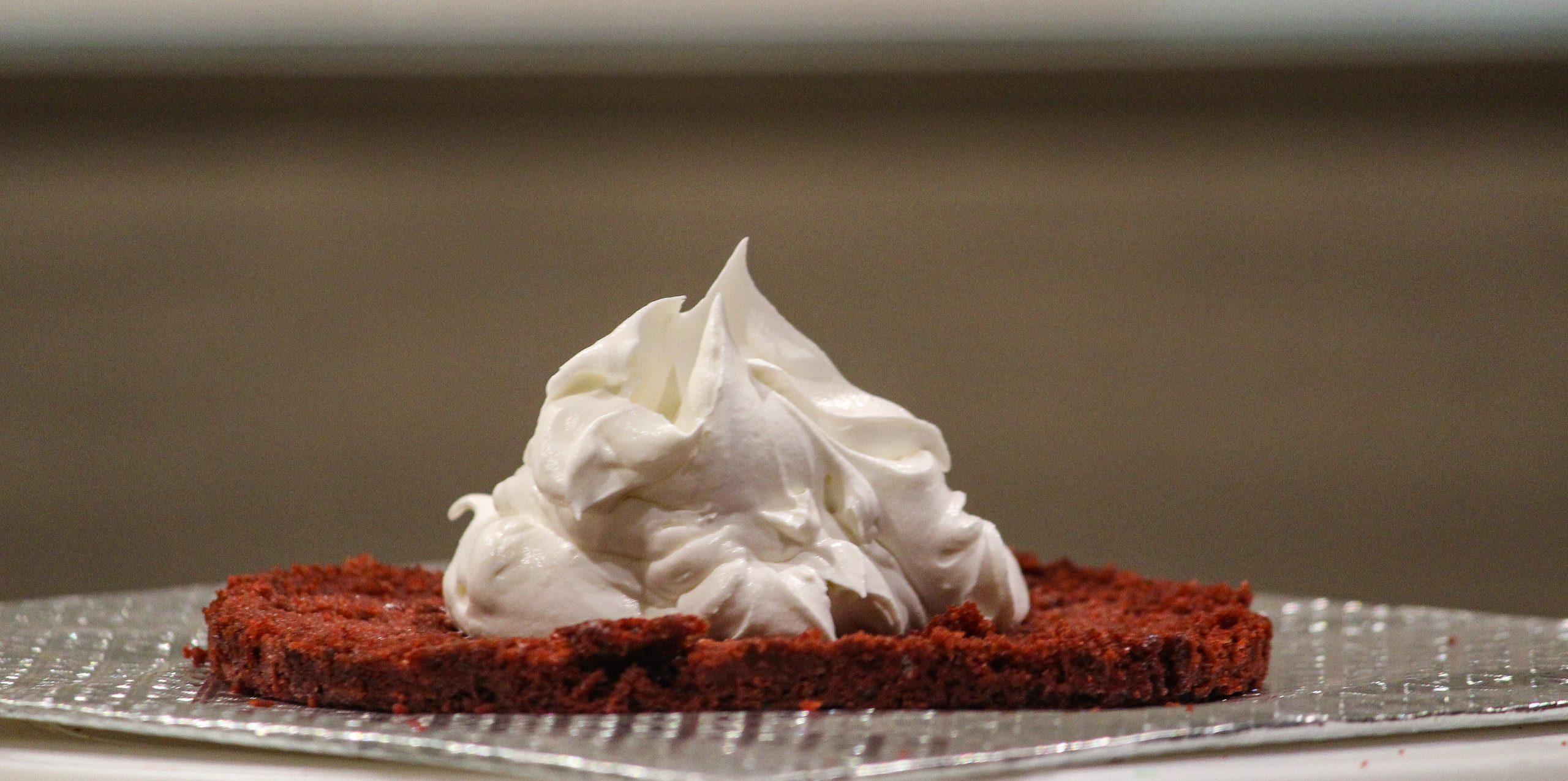 Red Velvet Cake base with vanilla cream on top