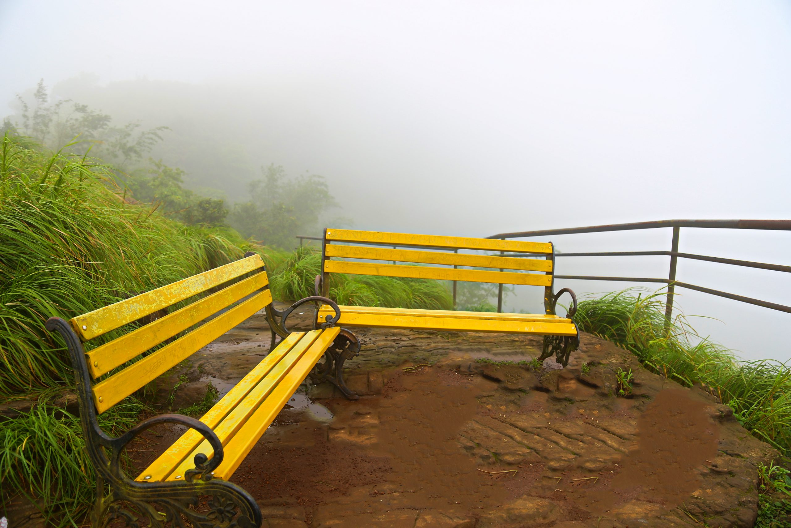 Rest bench at a hill station