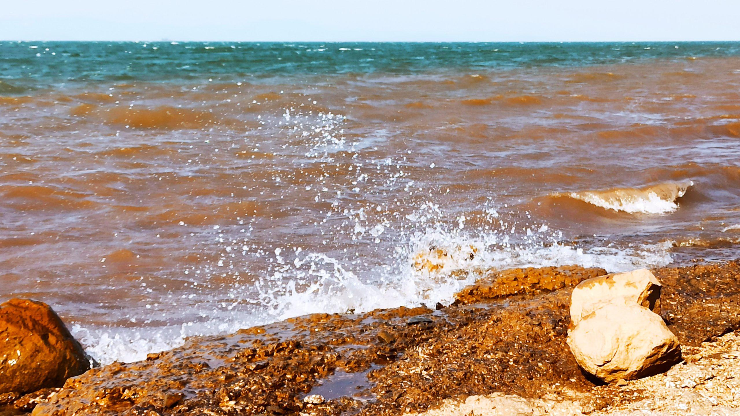 Sea waves reaching the shore