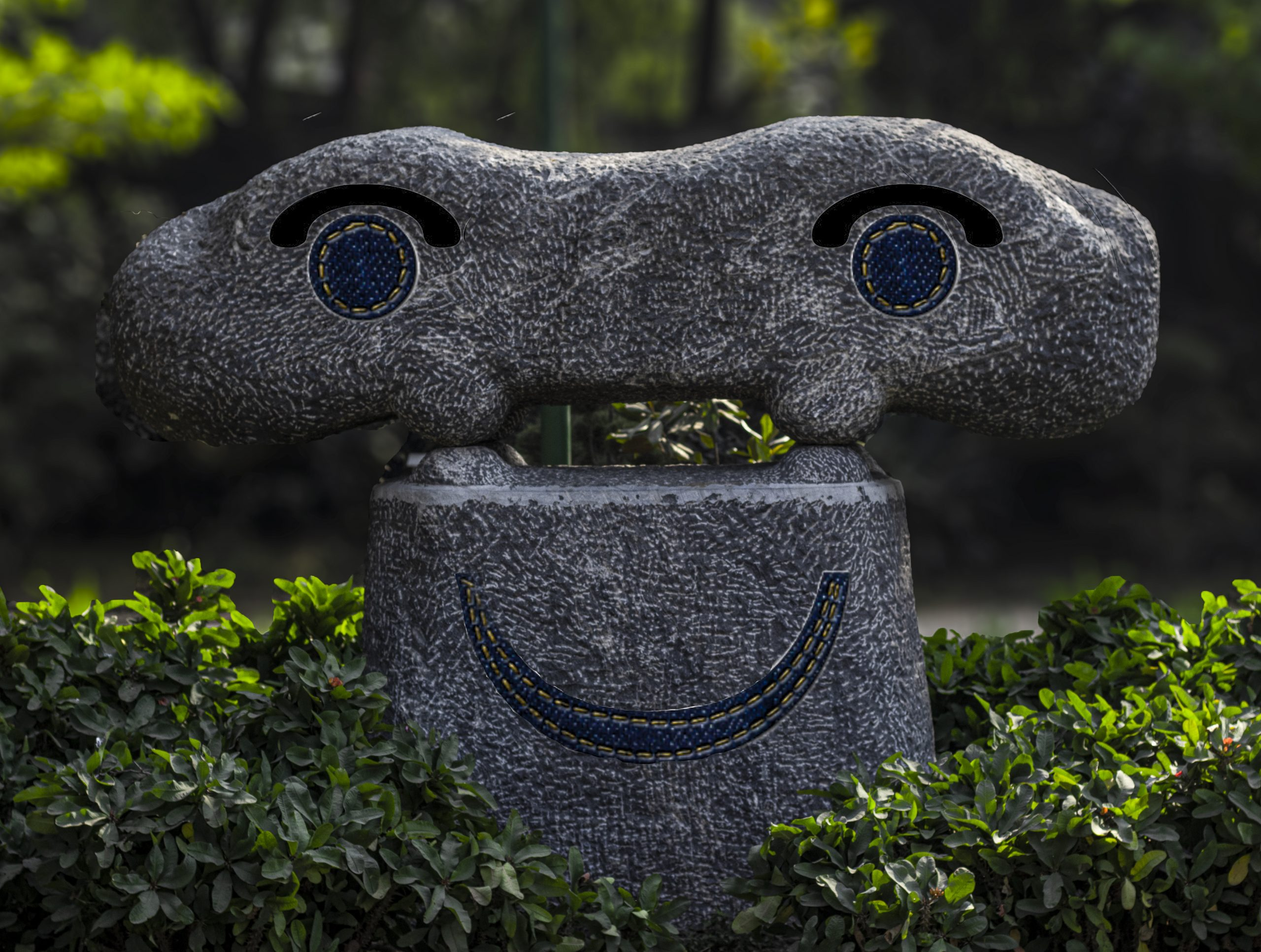 Smiley made with concrete