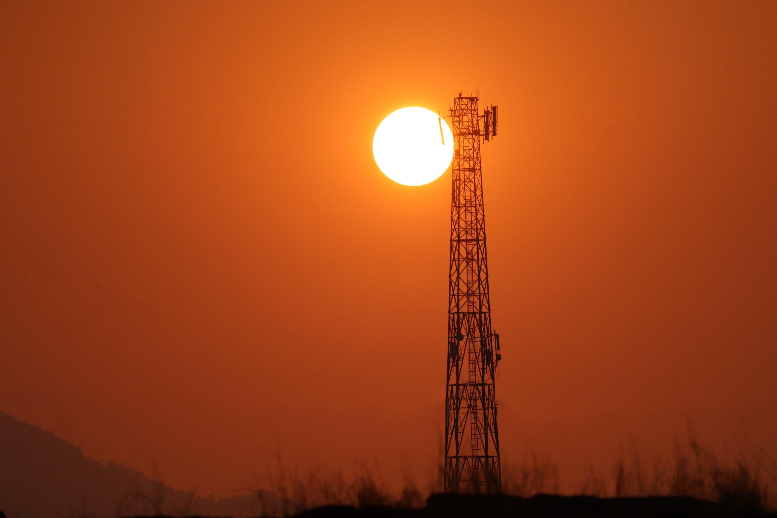 Sunset through a tower