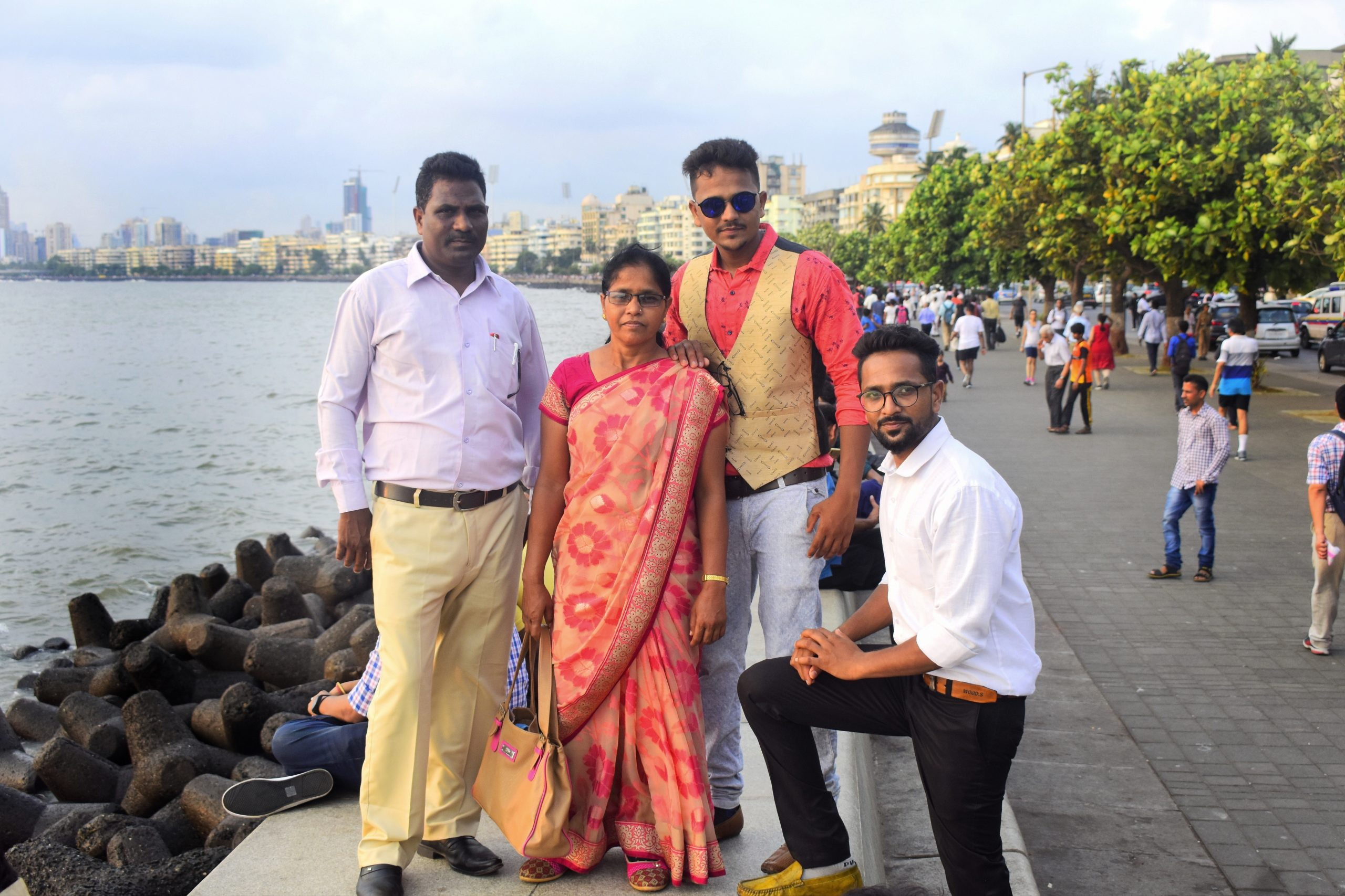 A family at Marine Drive in Mumbai