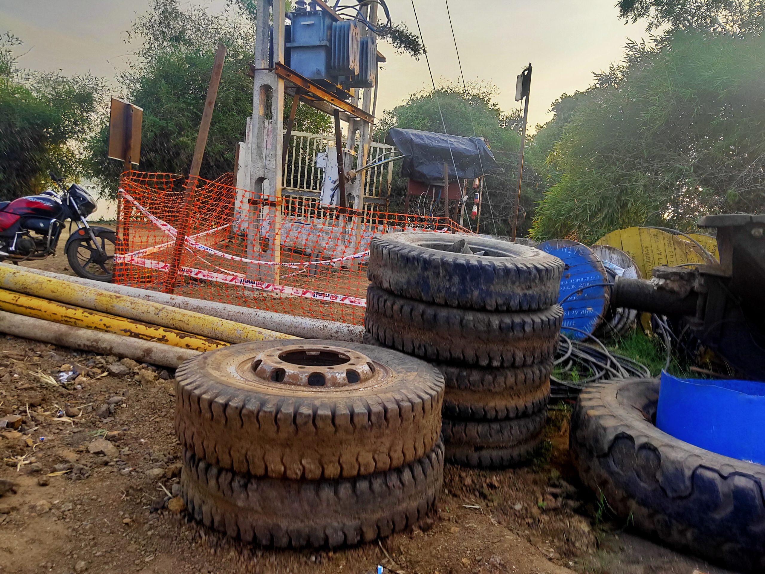 Tyres at a garage