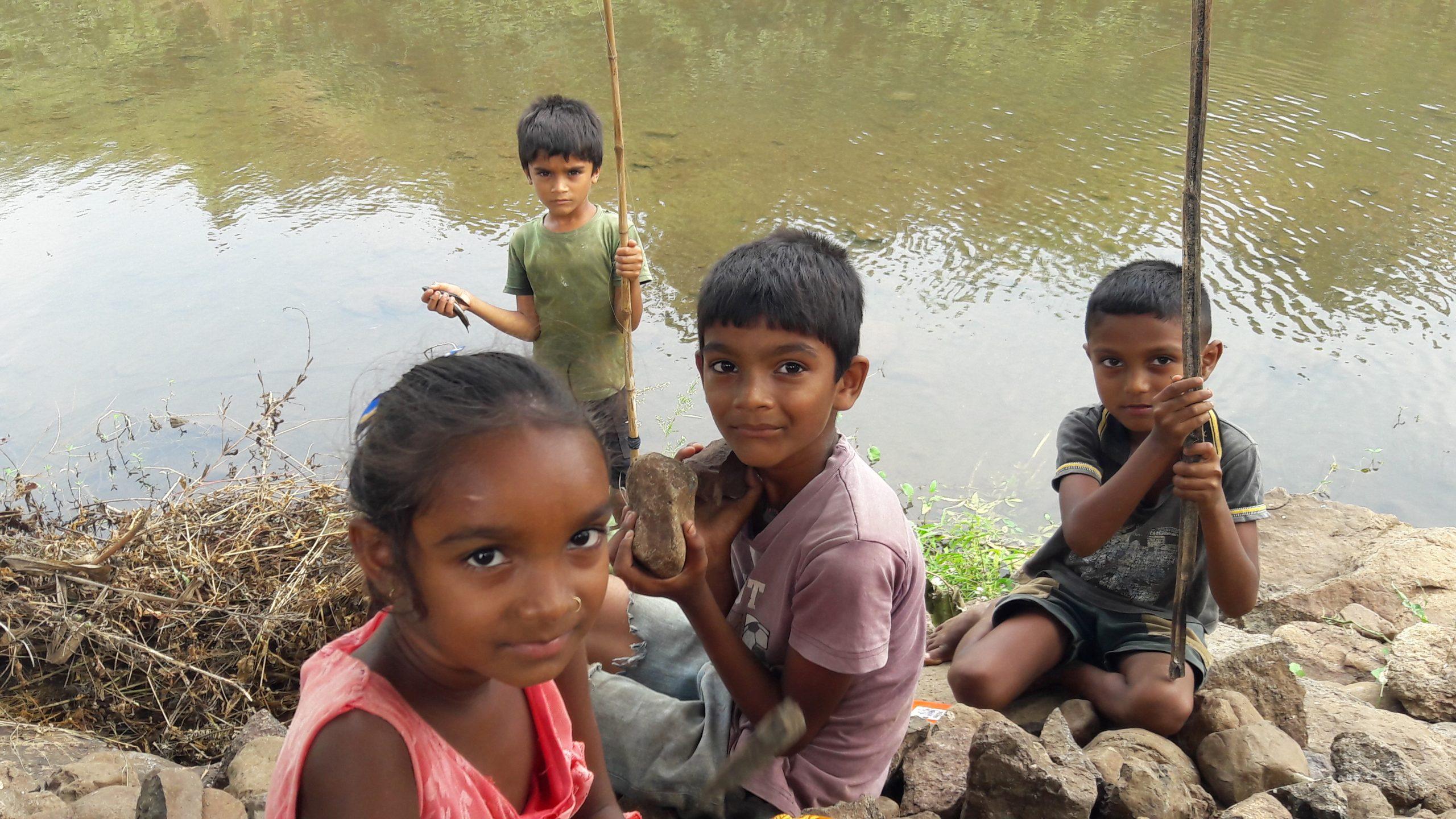 A village children near a lake