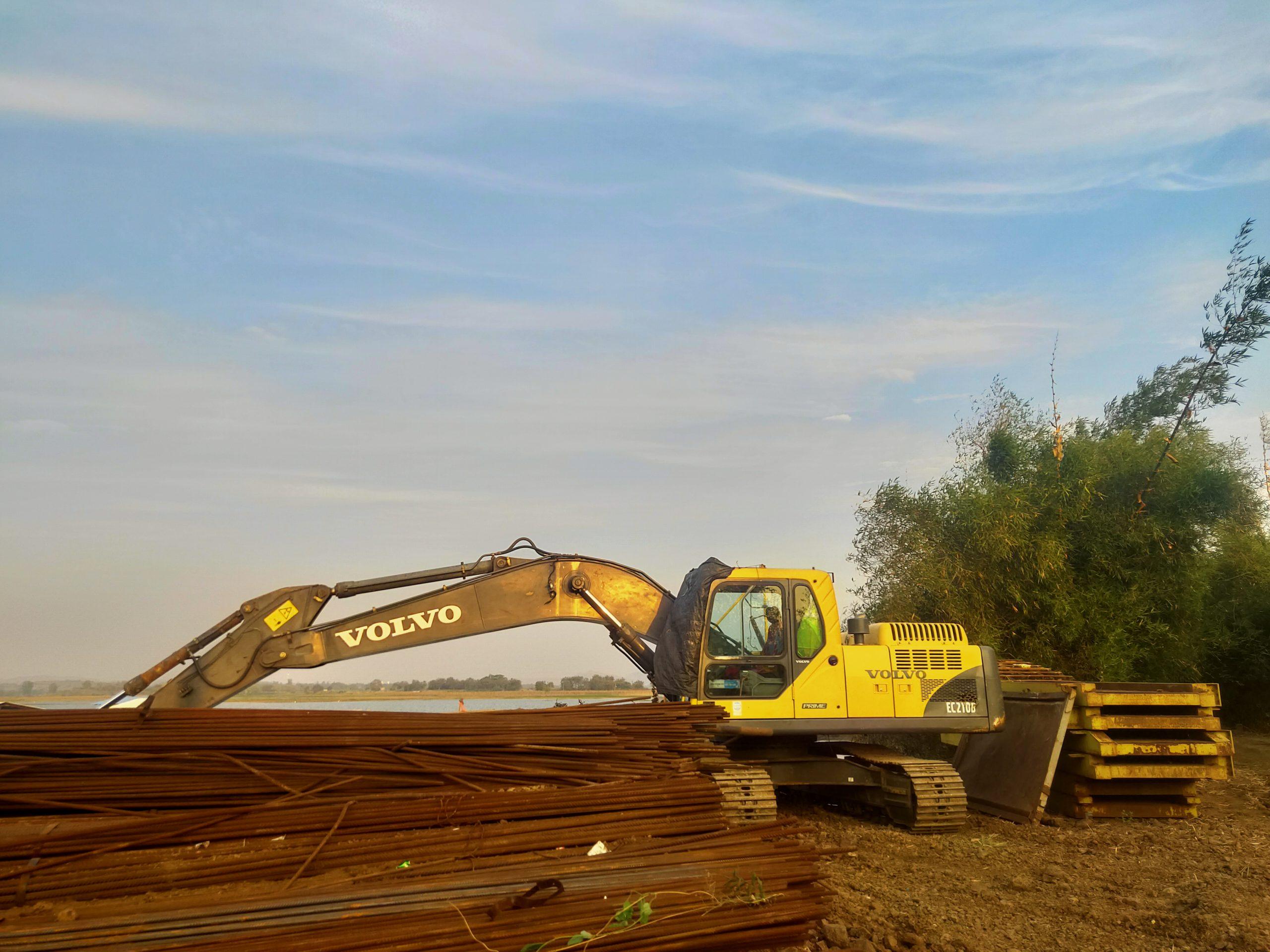 Bulldozer in construction field