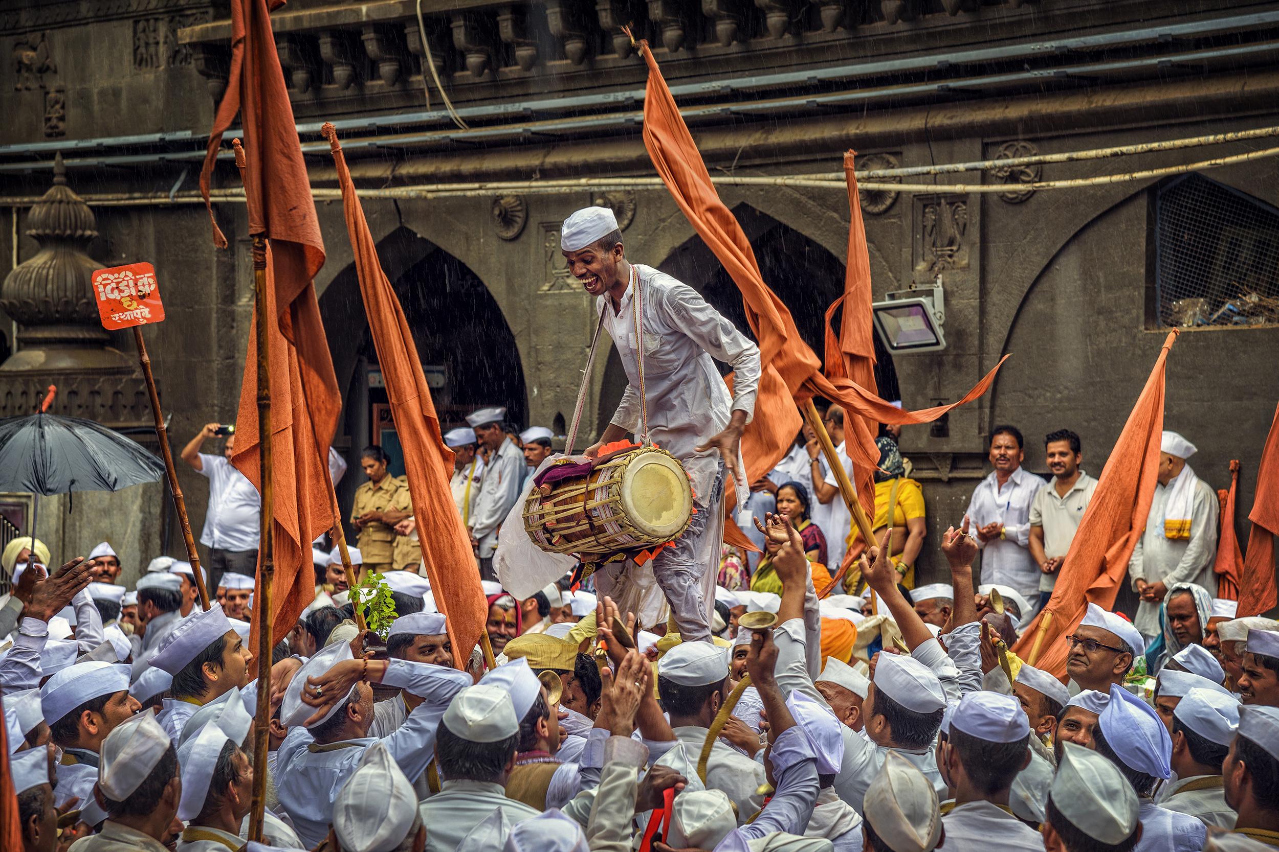People celebrating festival
