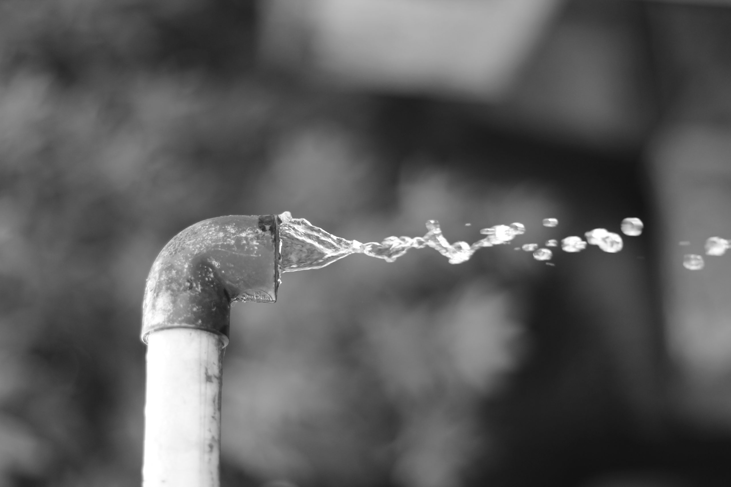 Water splash from a pipe