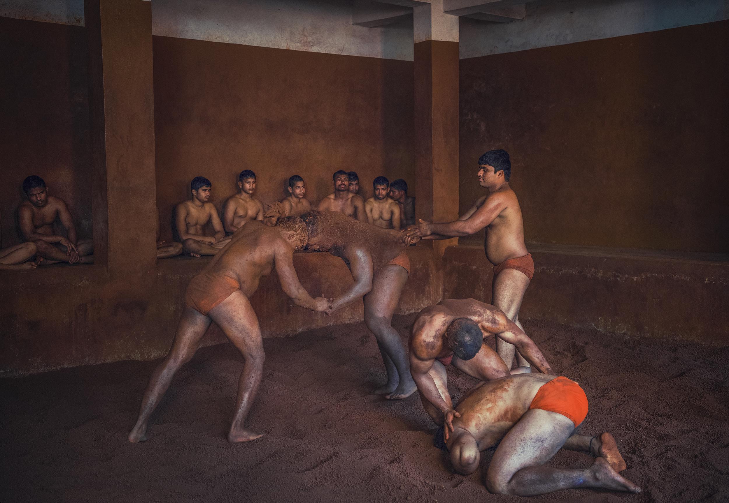 Wrestlers practicing