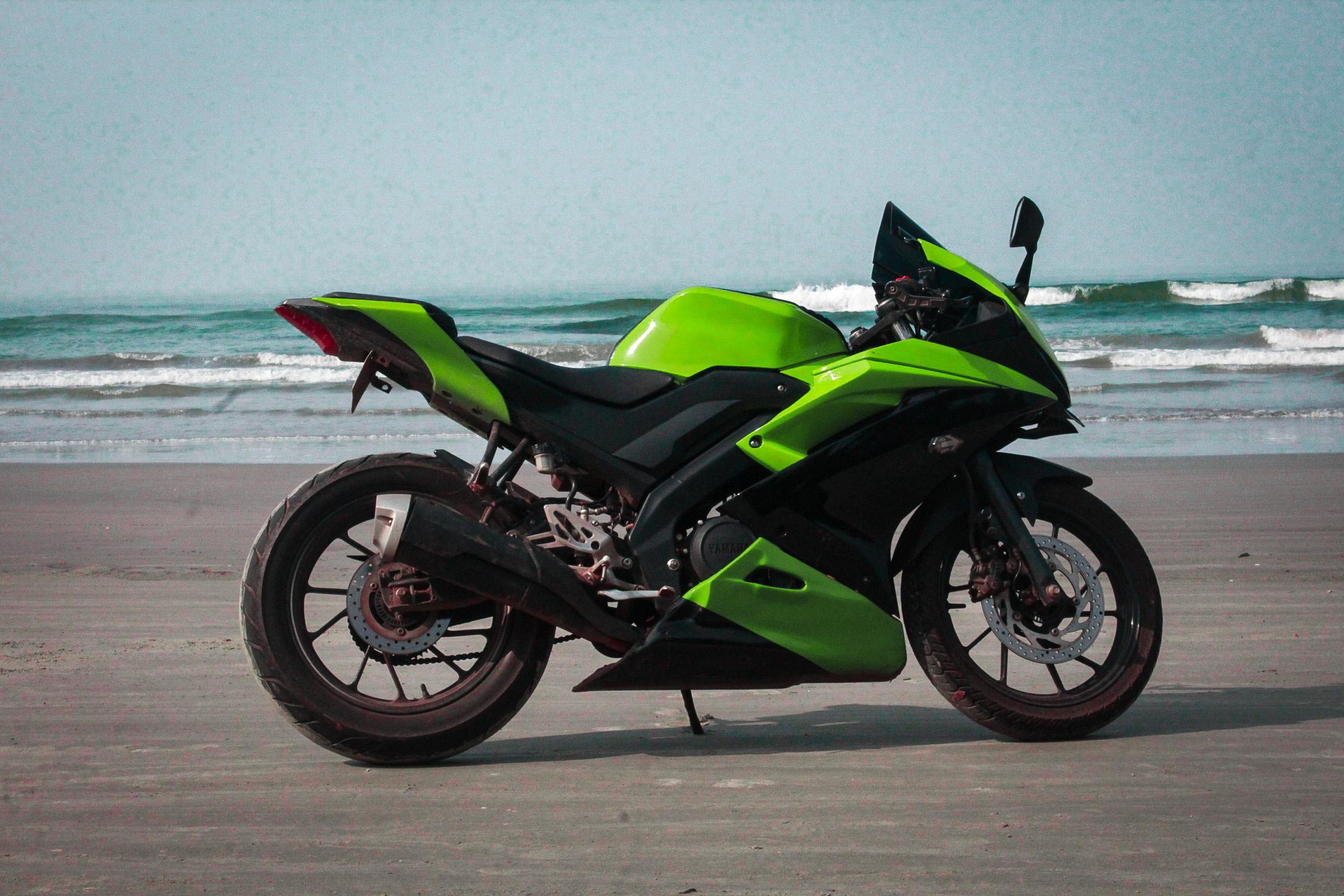 motorbike on the beach side