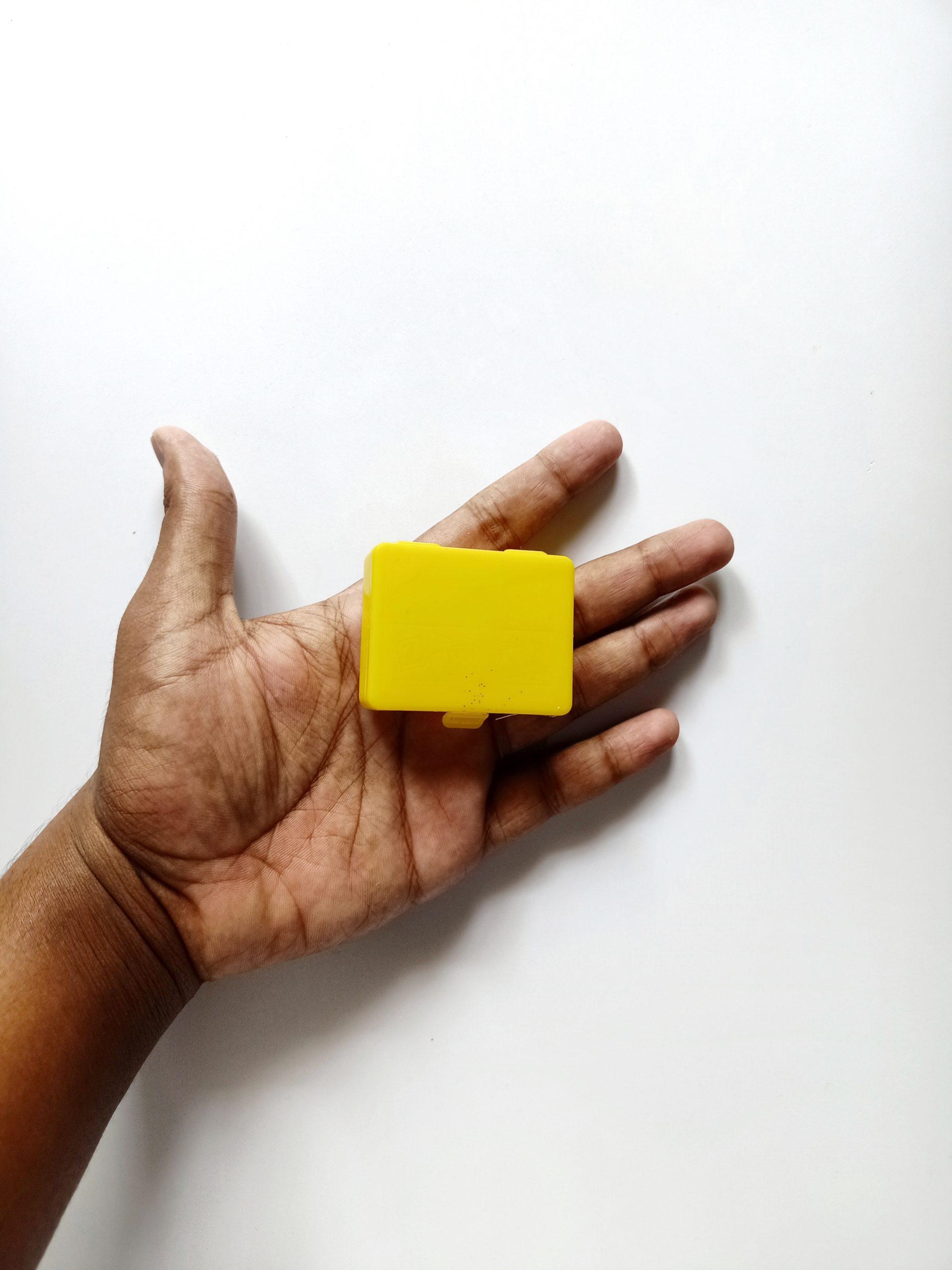 Yellow box in hand