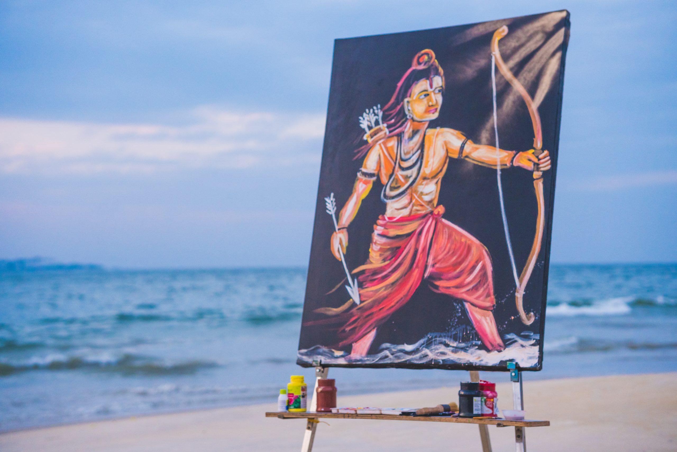 Lord Rama painting on a beach