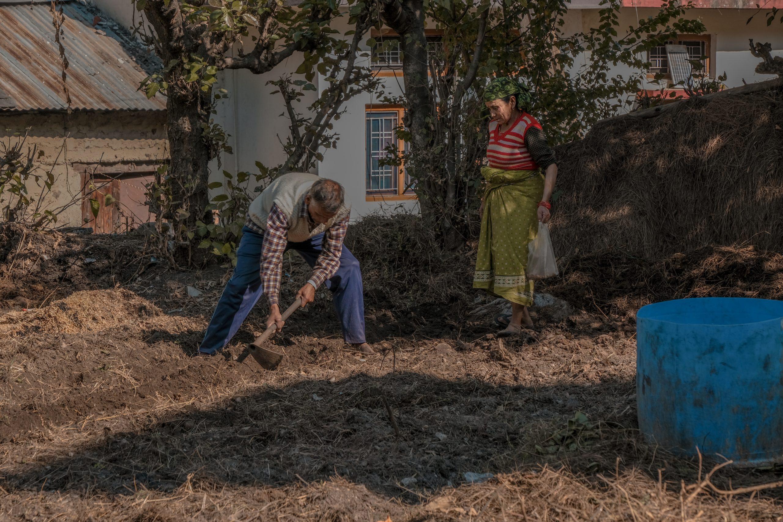 A village farmers working in field