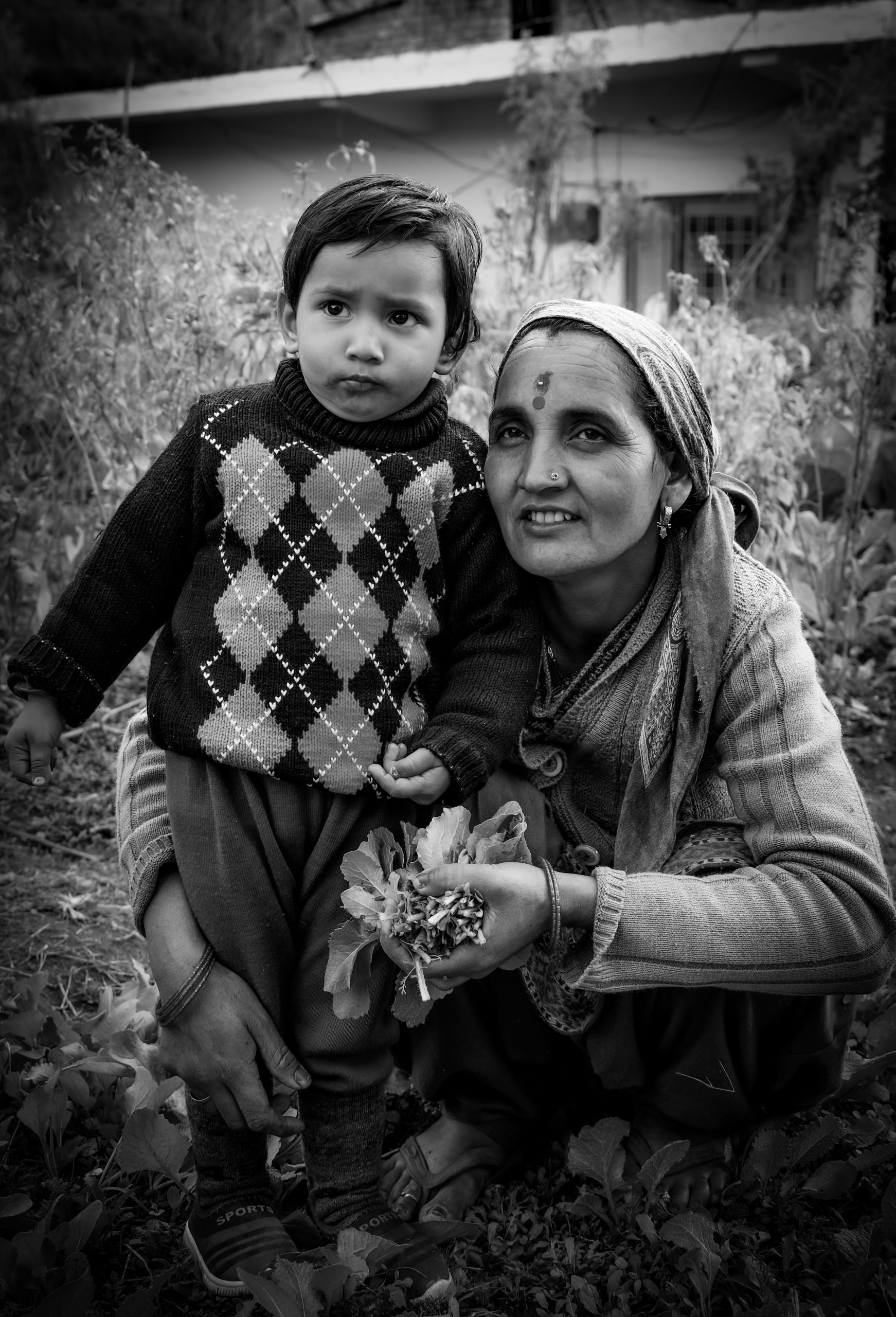A village woman with a kid