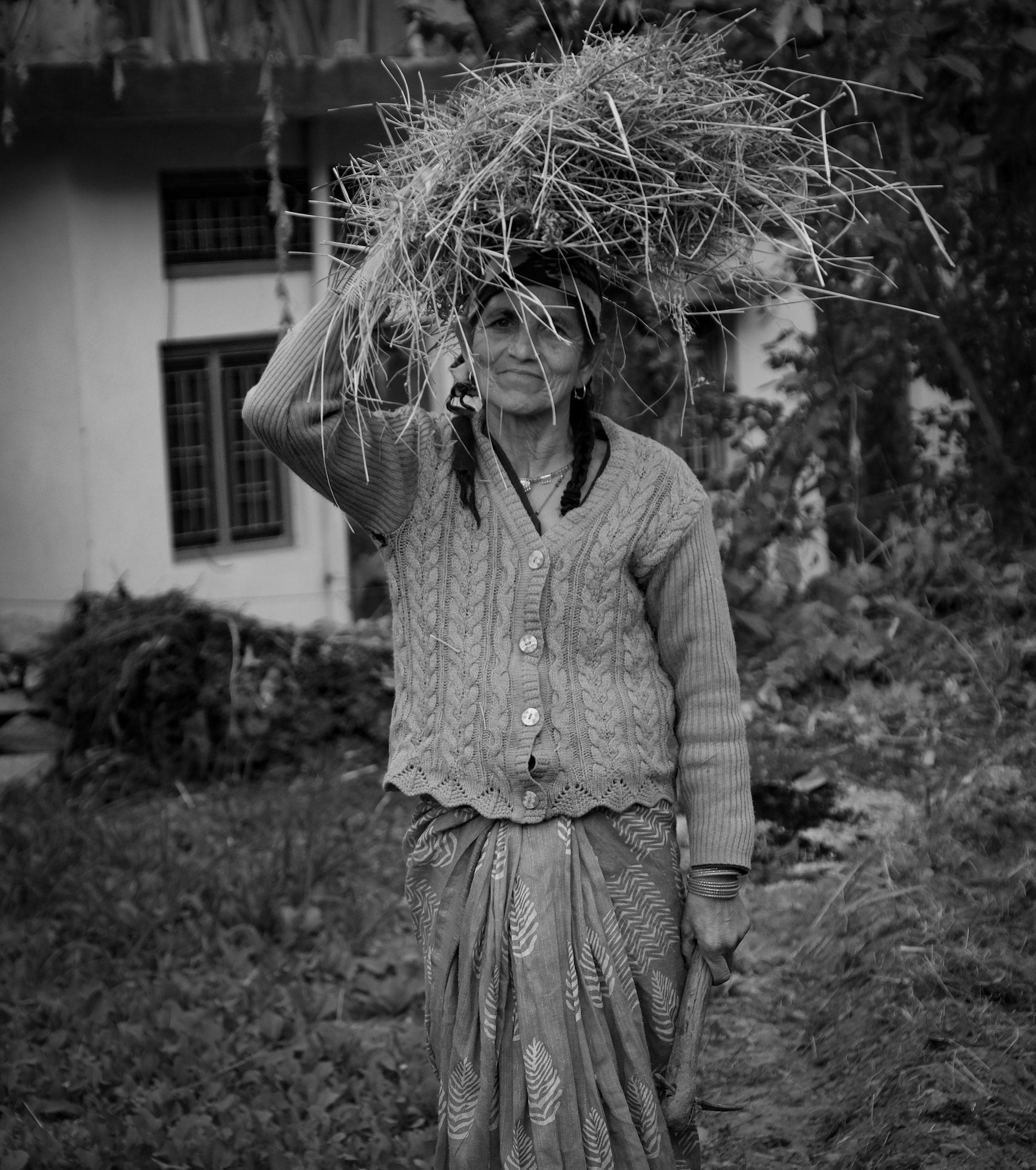 farmer with hay
