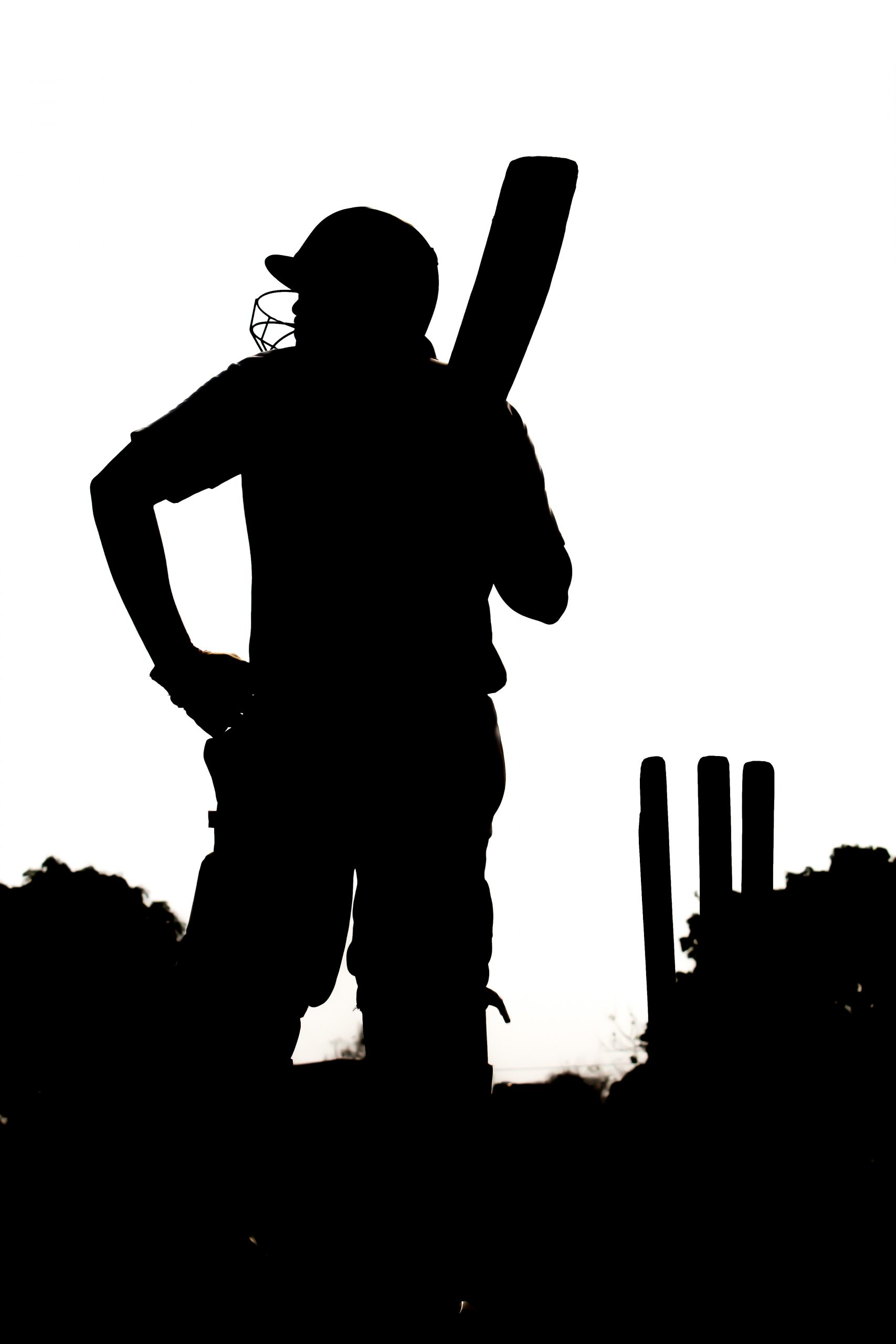 silhouette of a cricketer