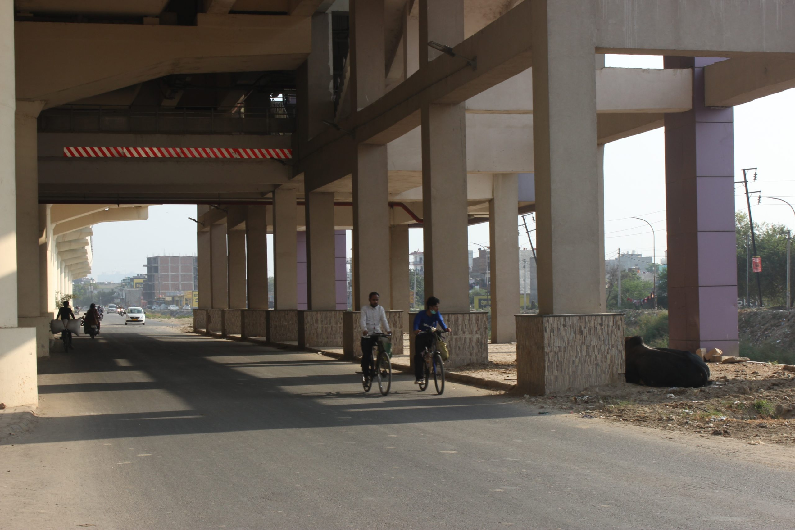 A road through a metro station