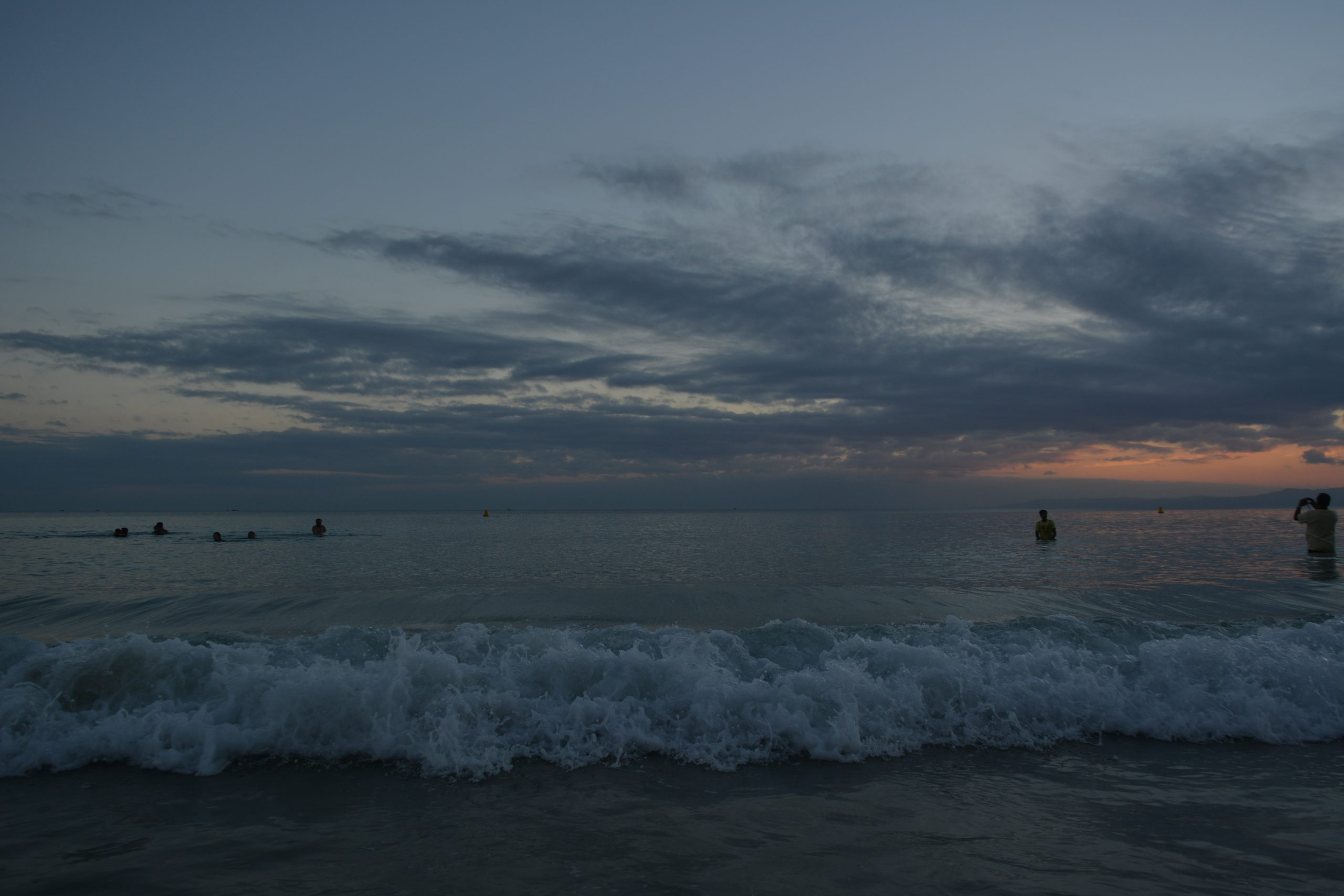 Sea waves in evening