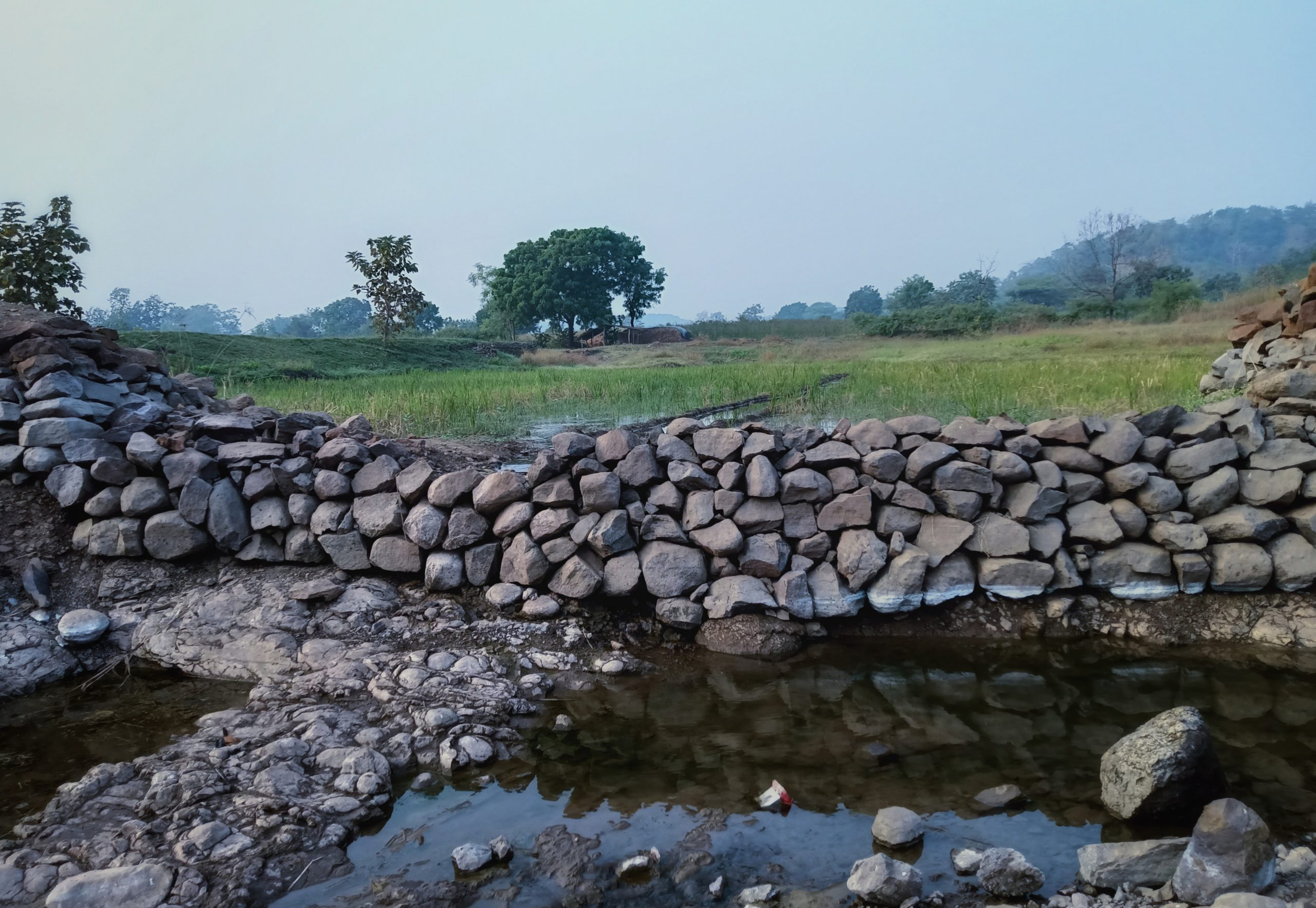 A barrier made with stones in a village