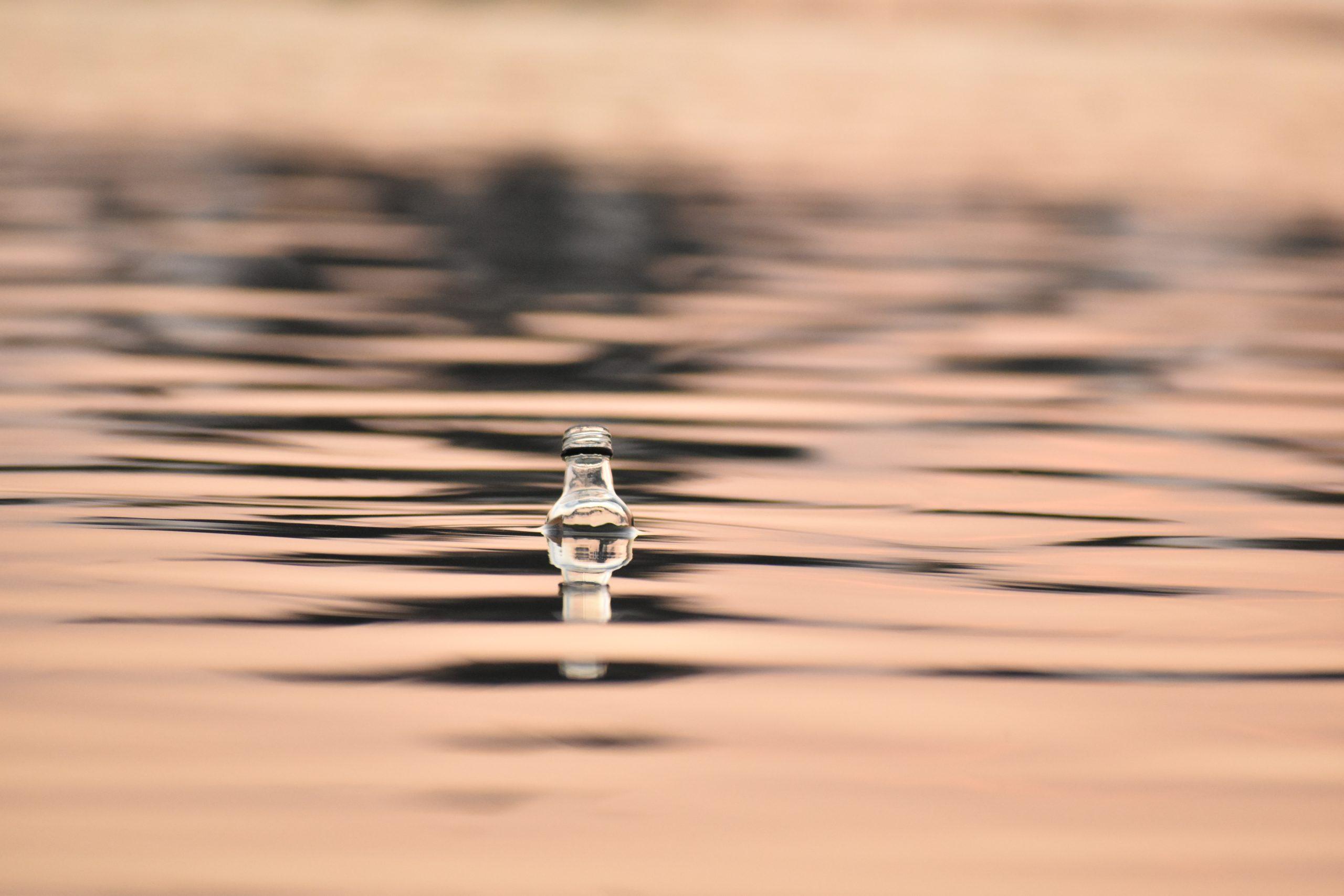 A bottle in water