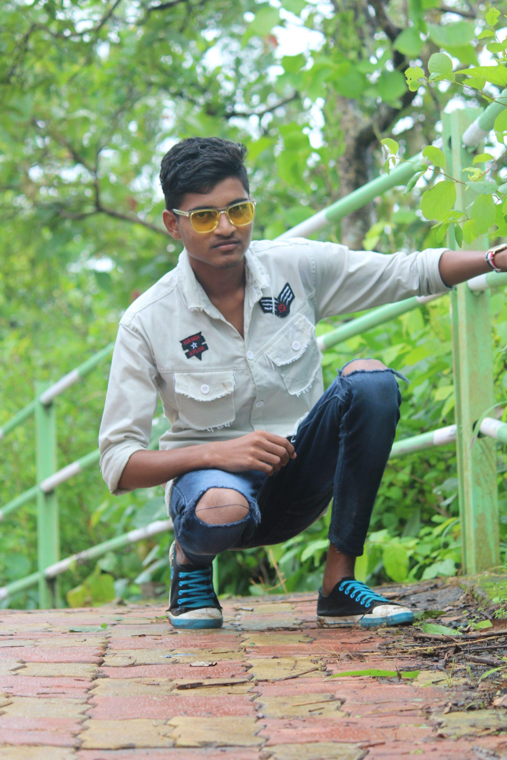 A boy on a footbridge