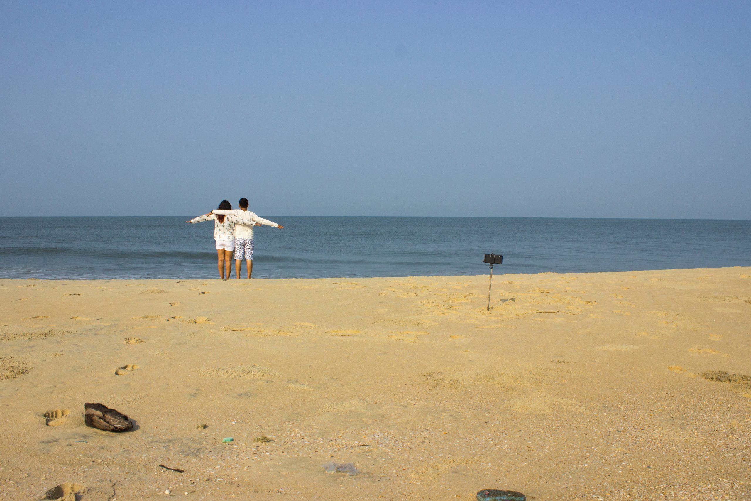 A couple at a empty beach