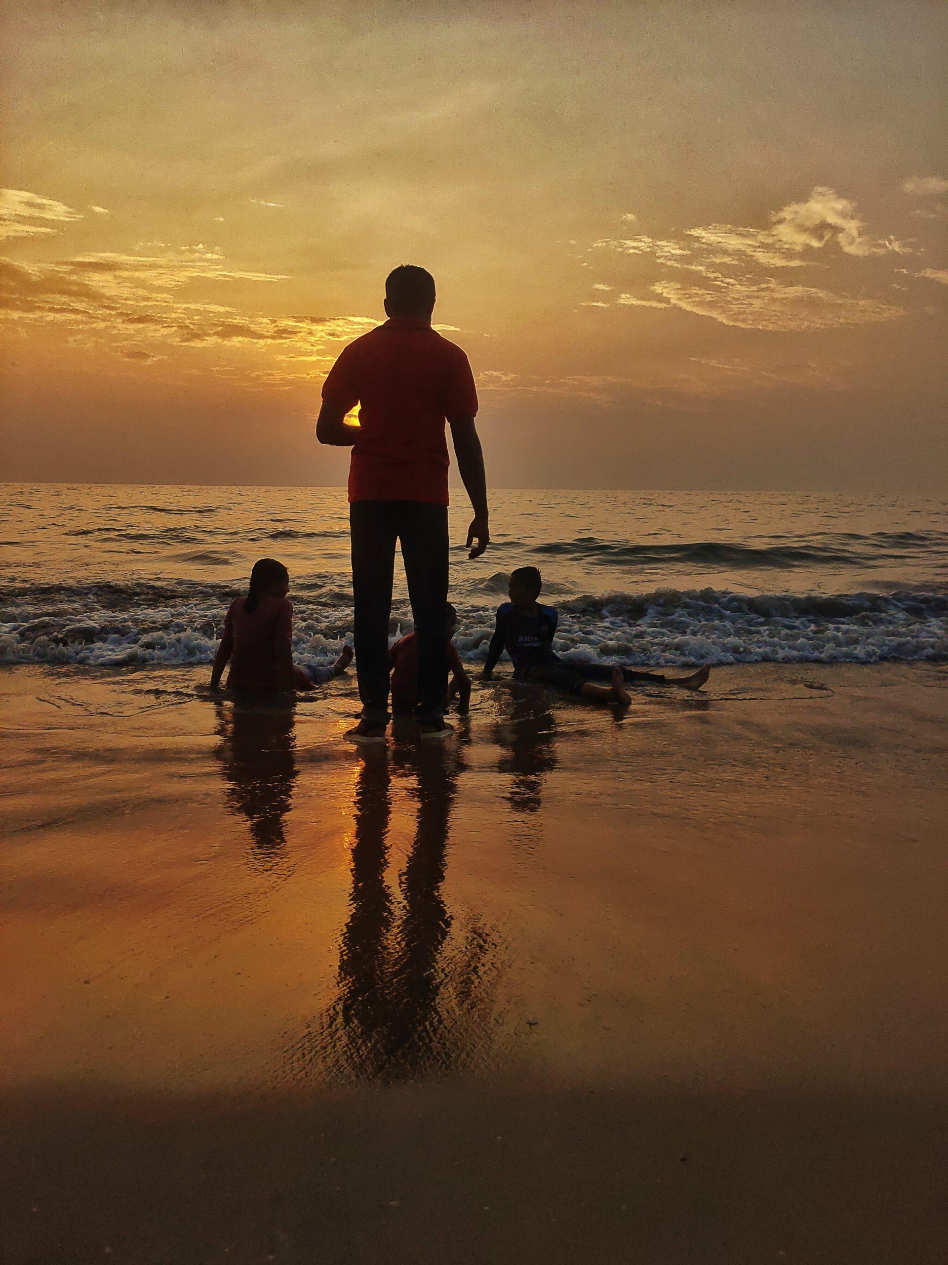 A family enjoying at a beach