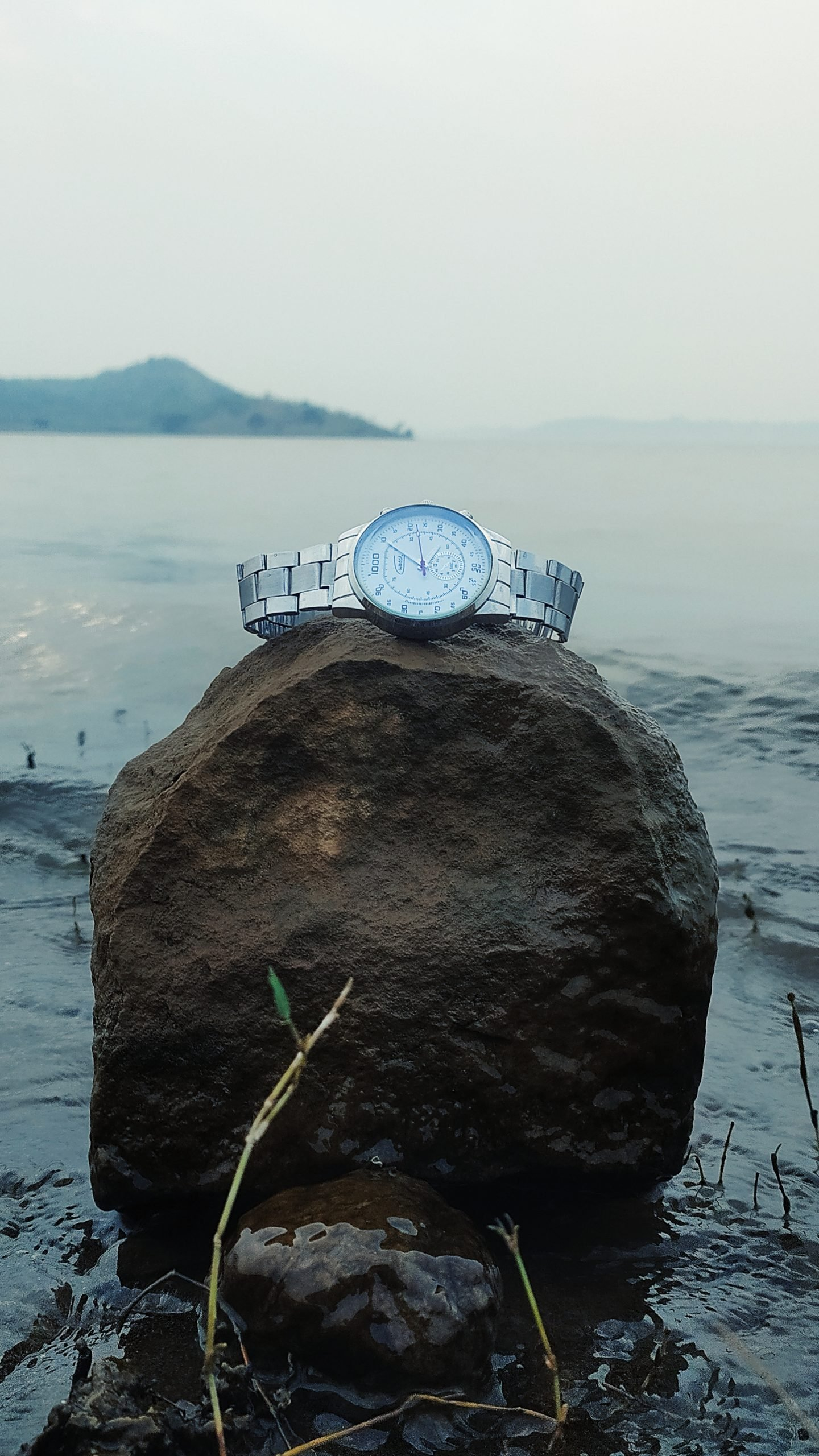 wristwatch on a rock