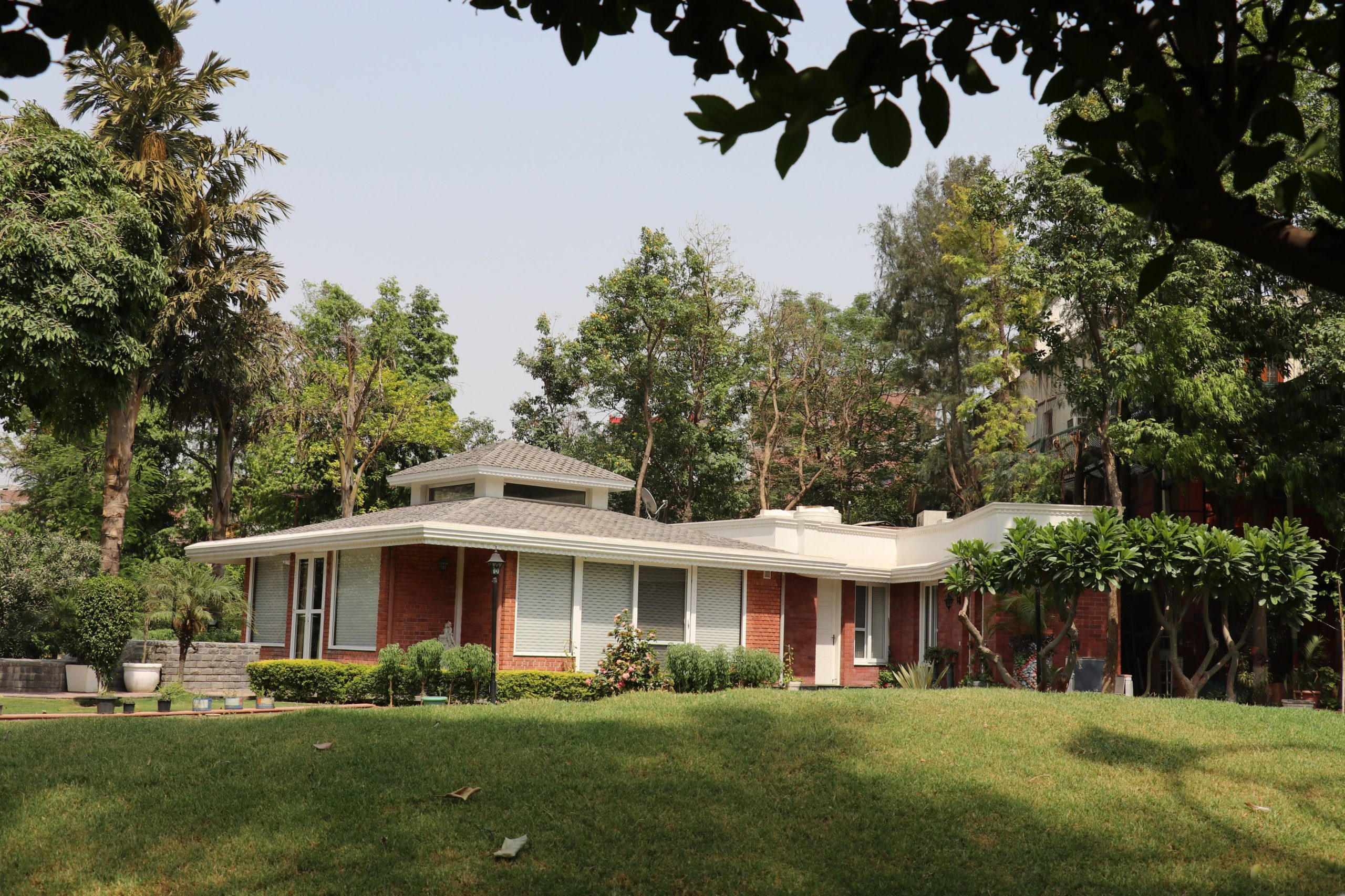 A house around greenery