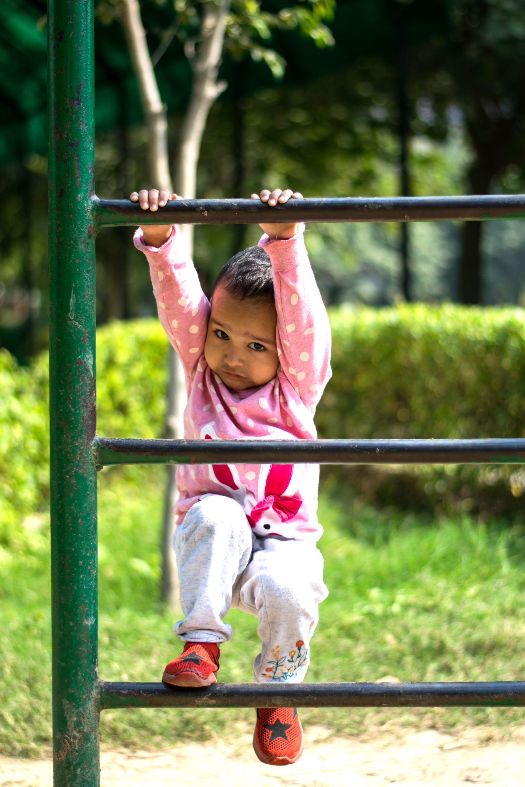 A kid playing in a park