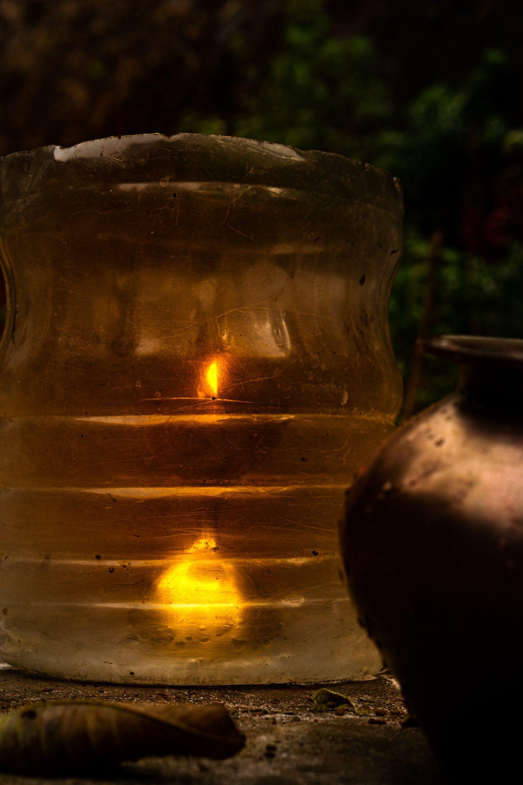 A lamp in a vessel
