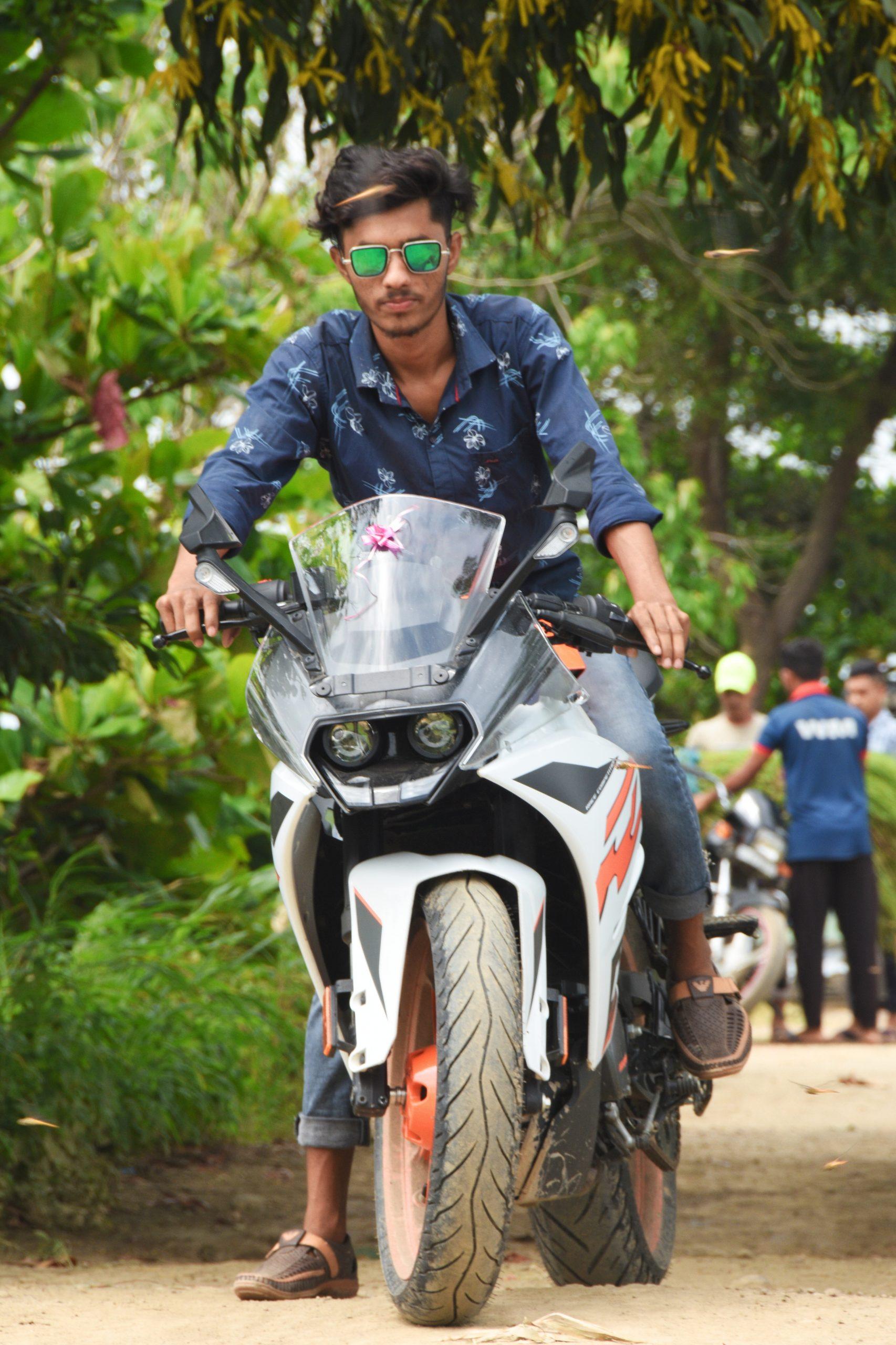 A stylish boy on his bike
