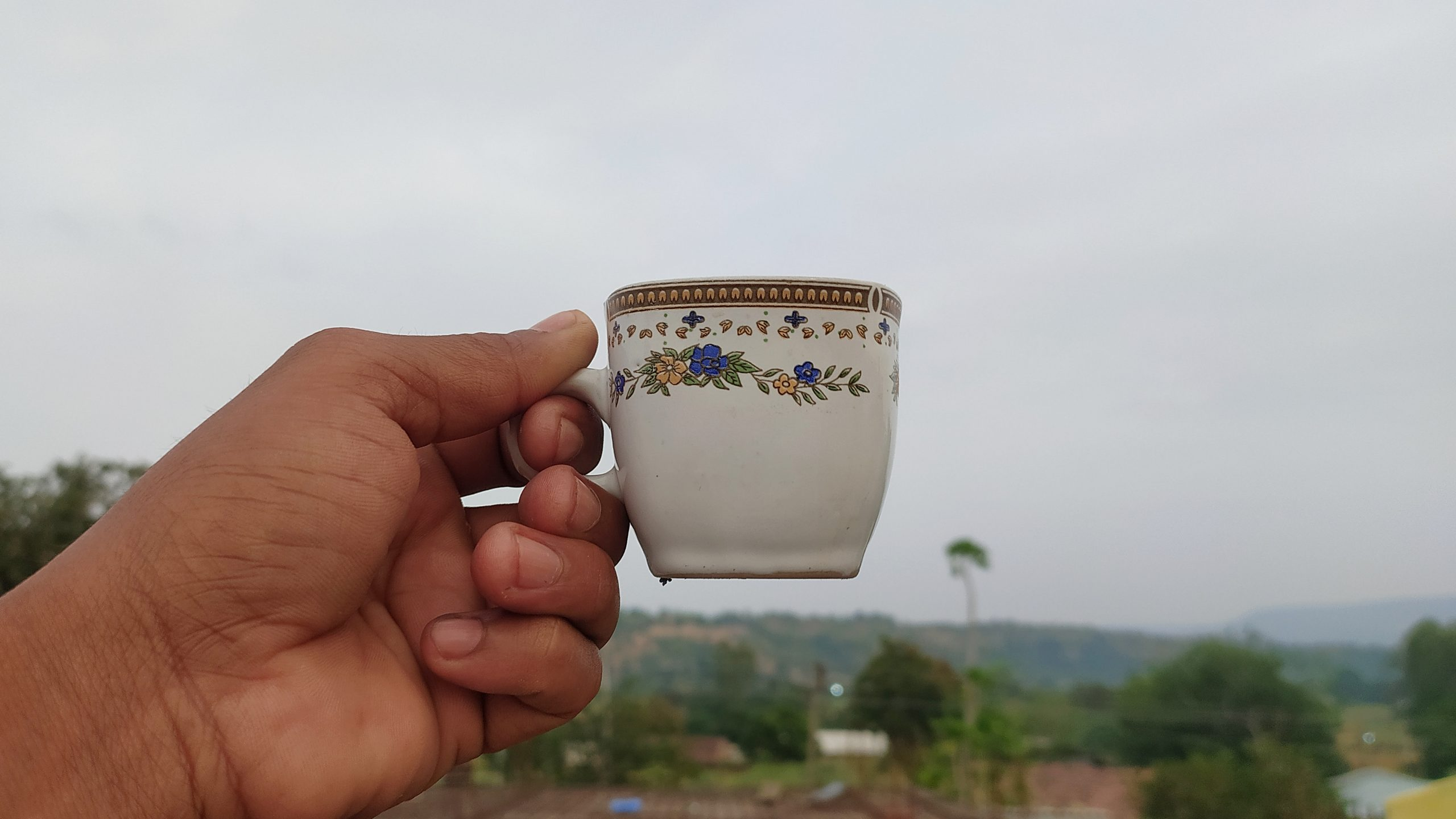 A tea cup in hand