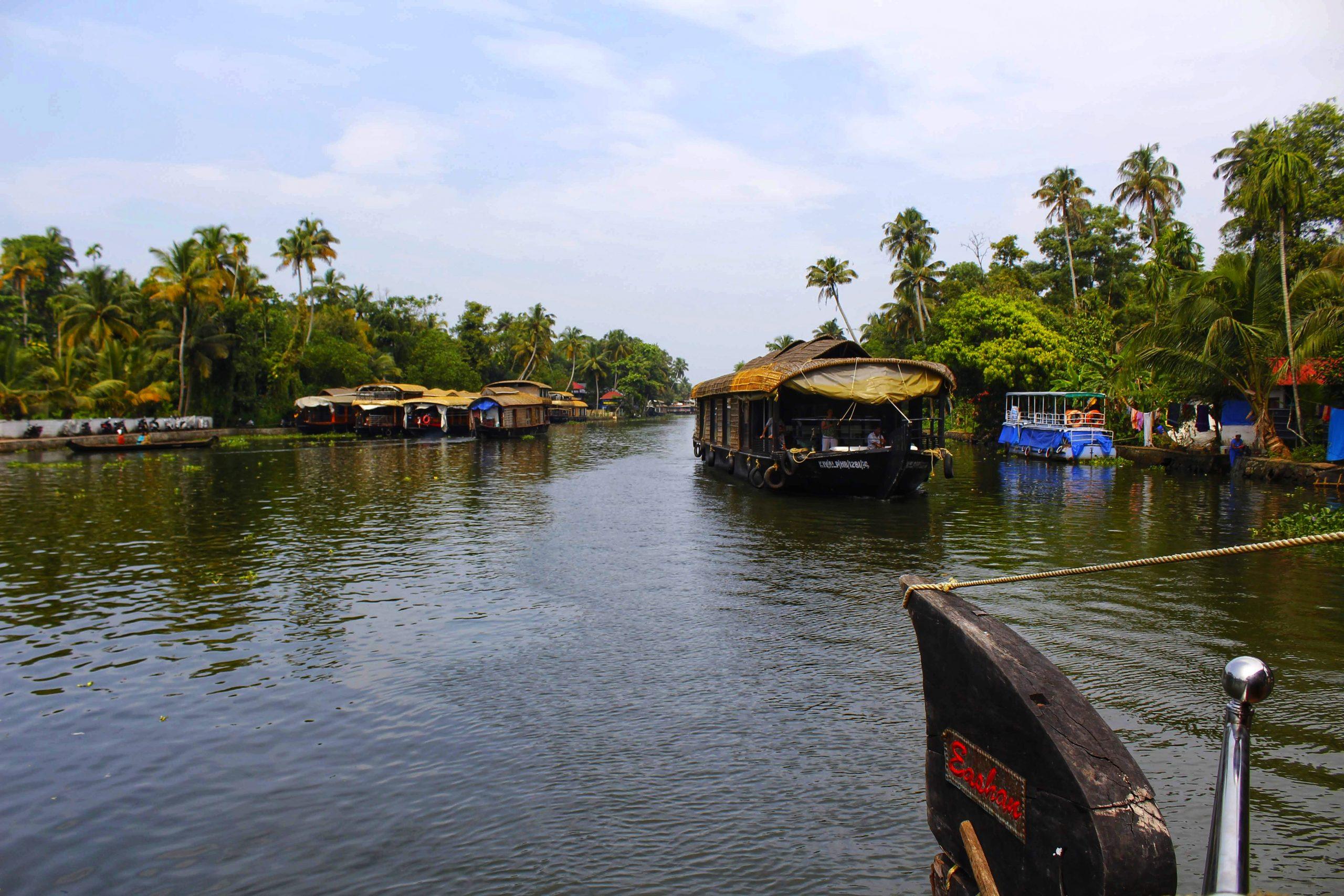 House boat in lake