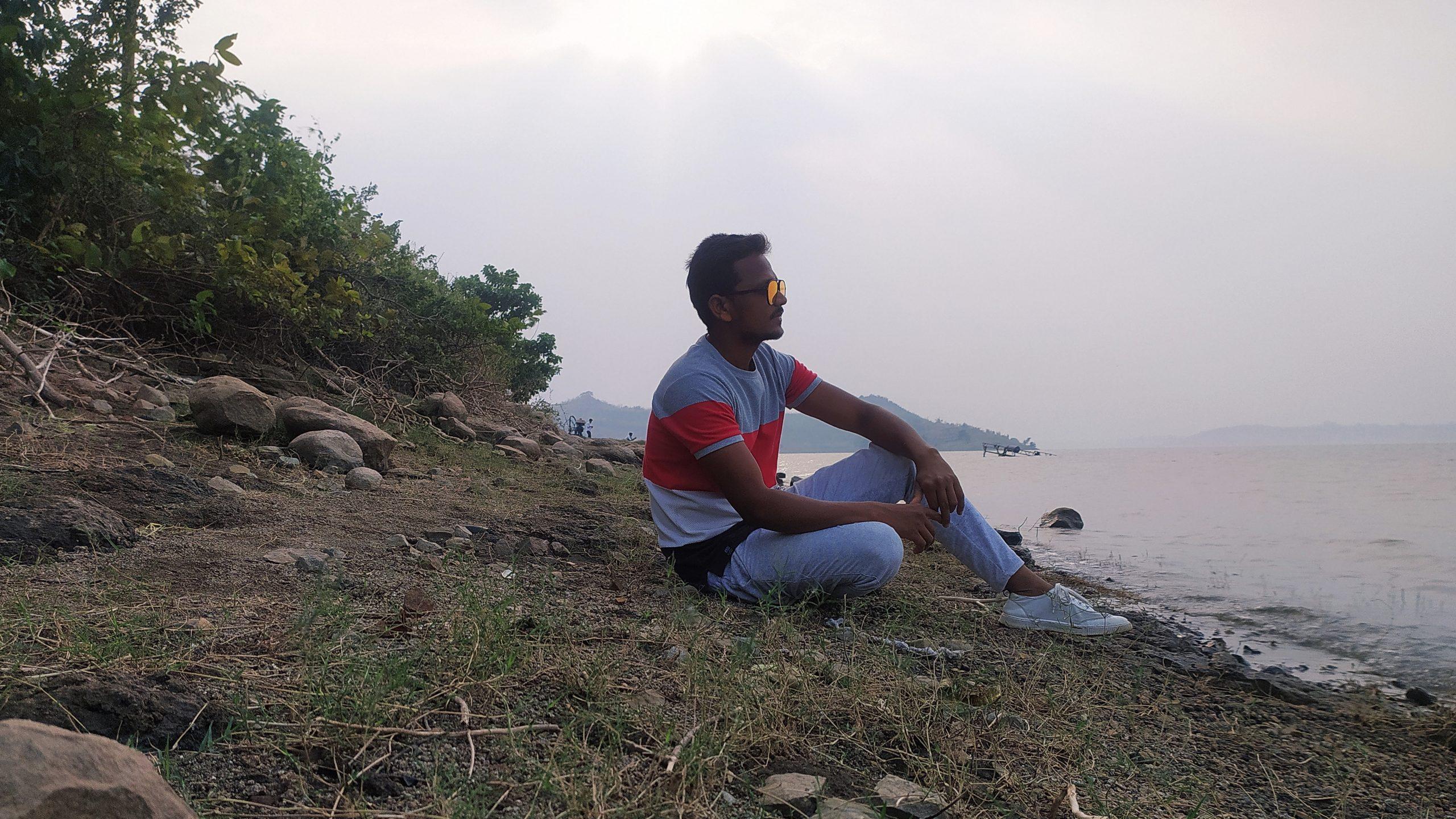 A boy at lake side