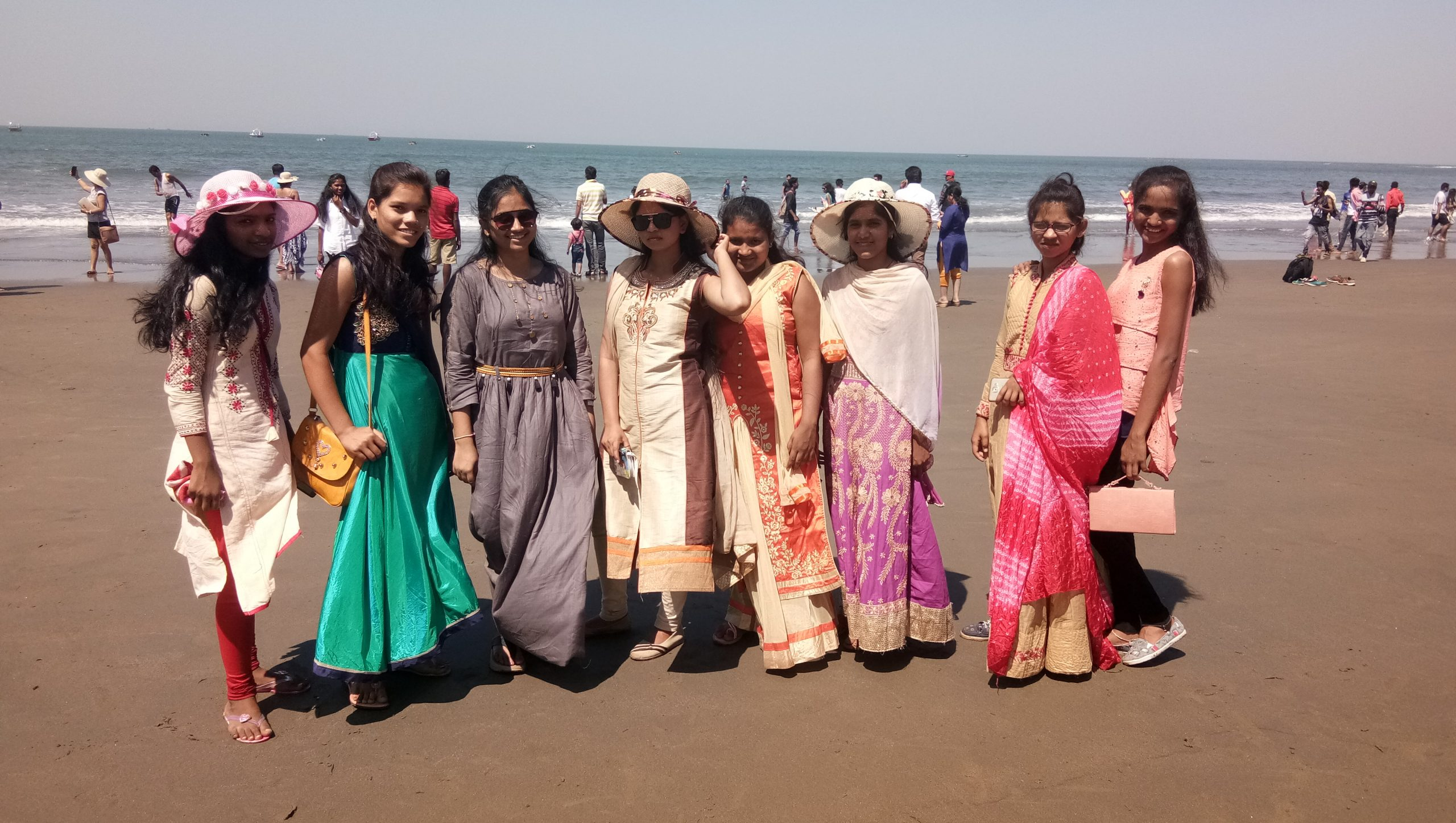 A group of girls at a beach
