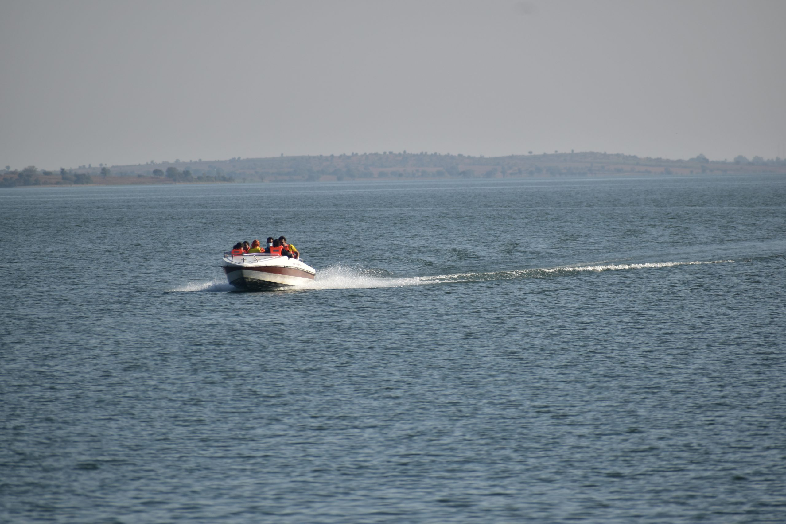 A speed boat in a sea