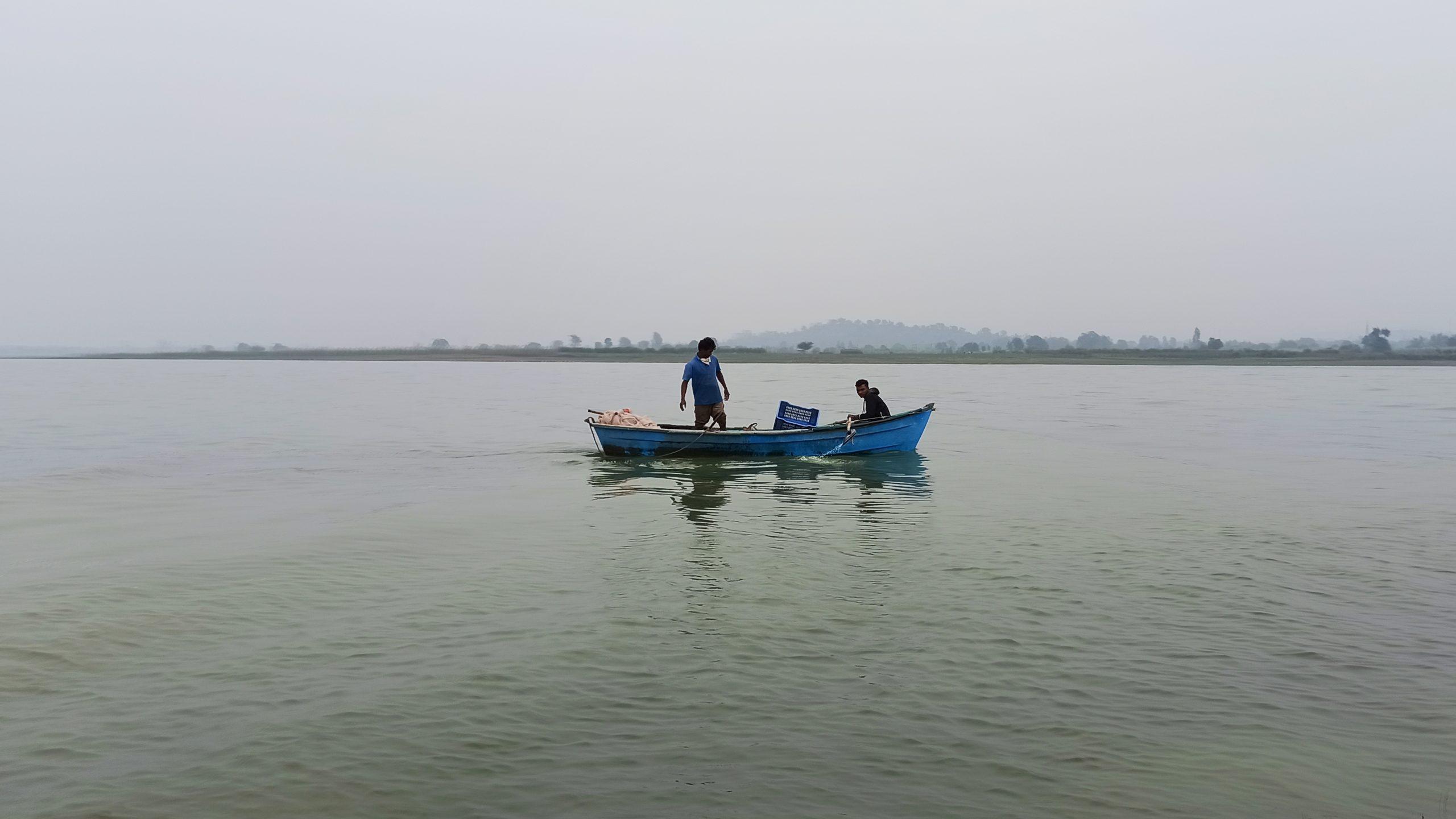 Floating boat in lake