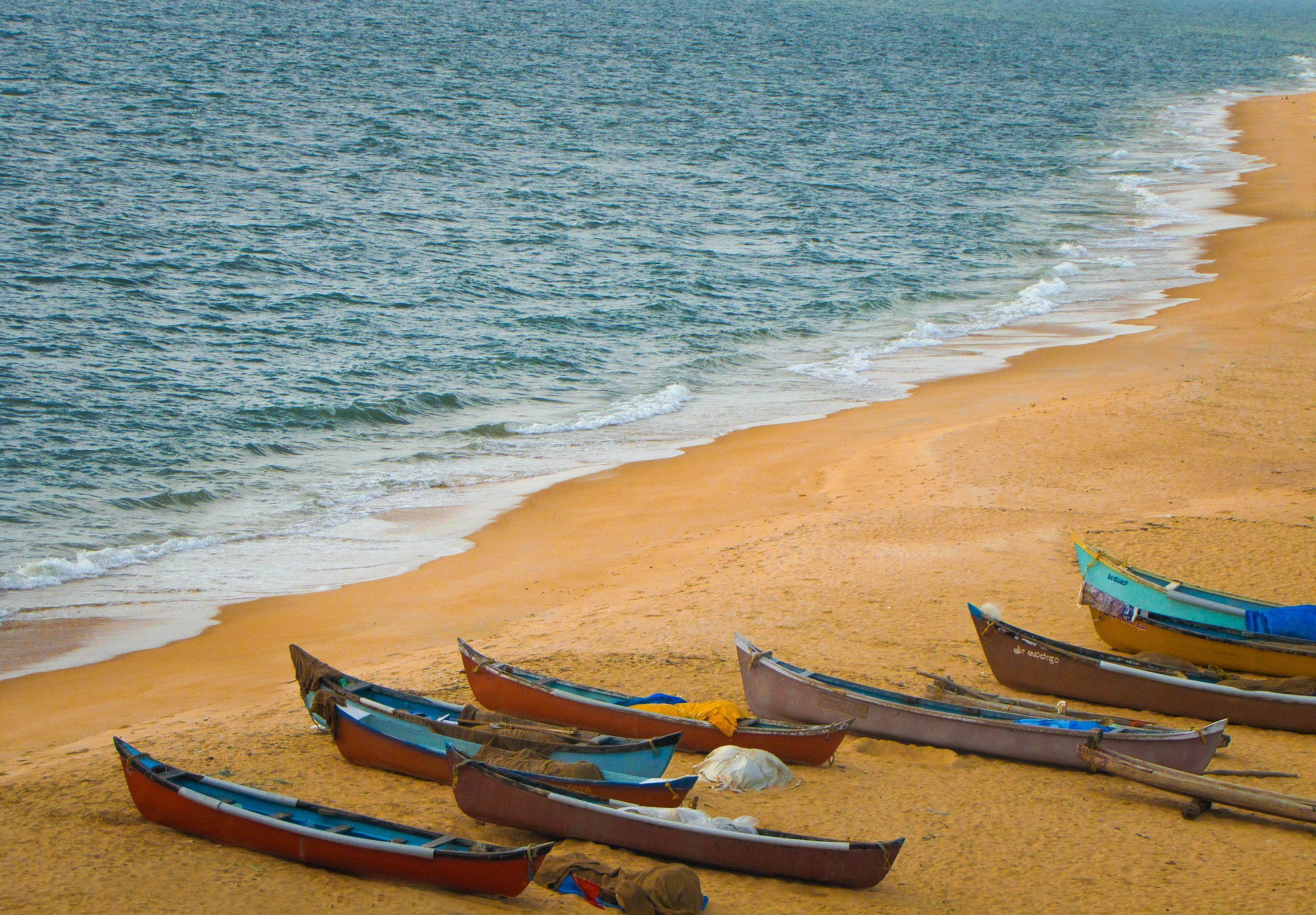 Boats at Kapu beach in Udupi