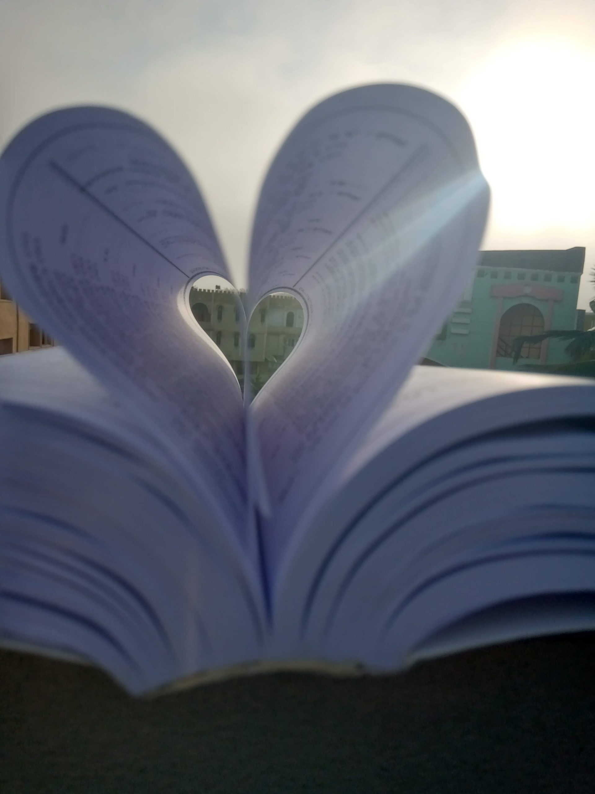 A heart shape made with book pages