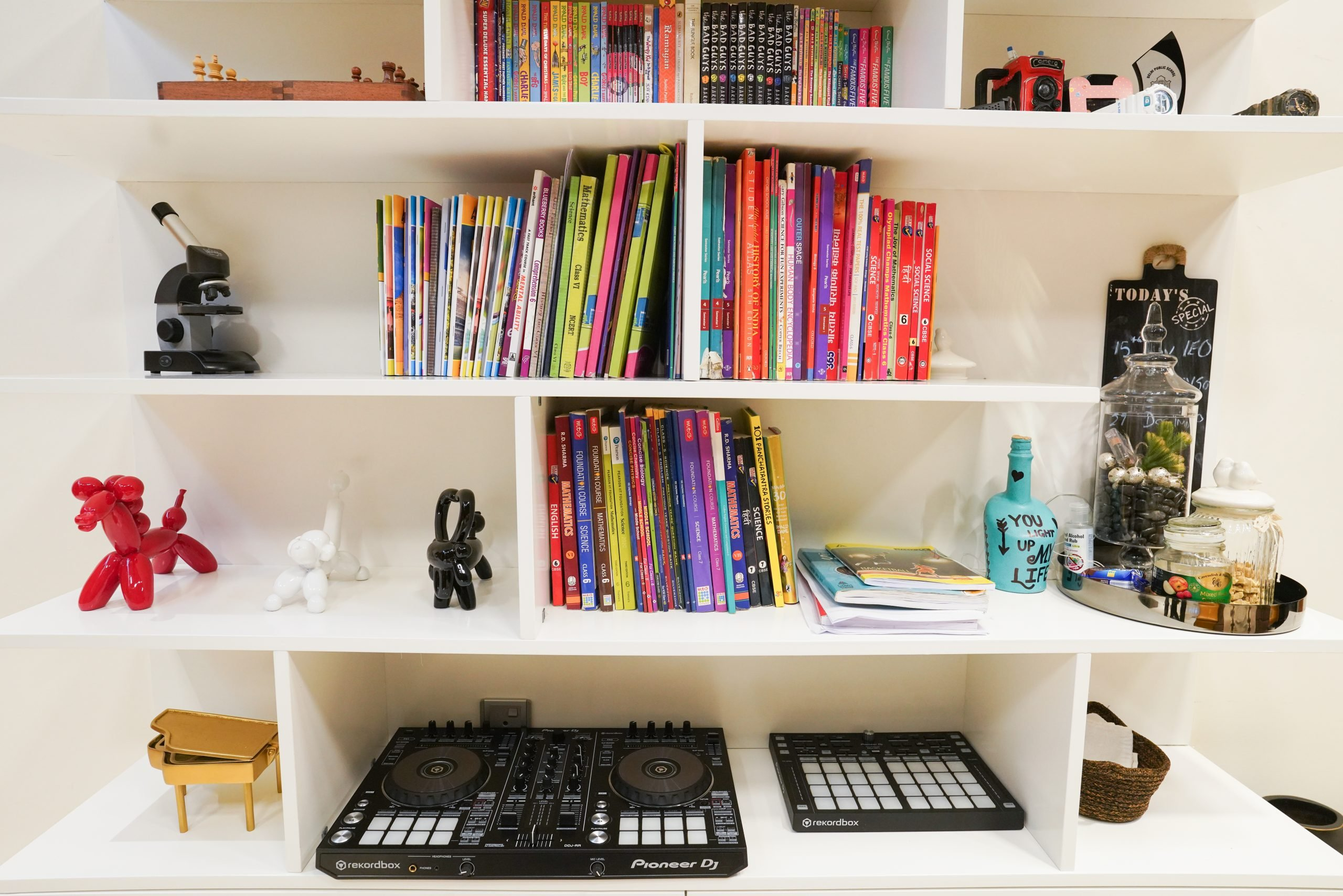 Books on wall shelves