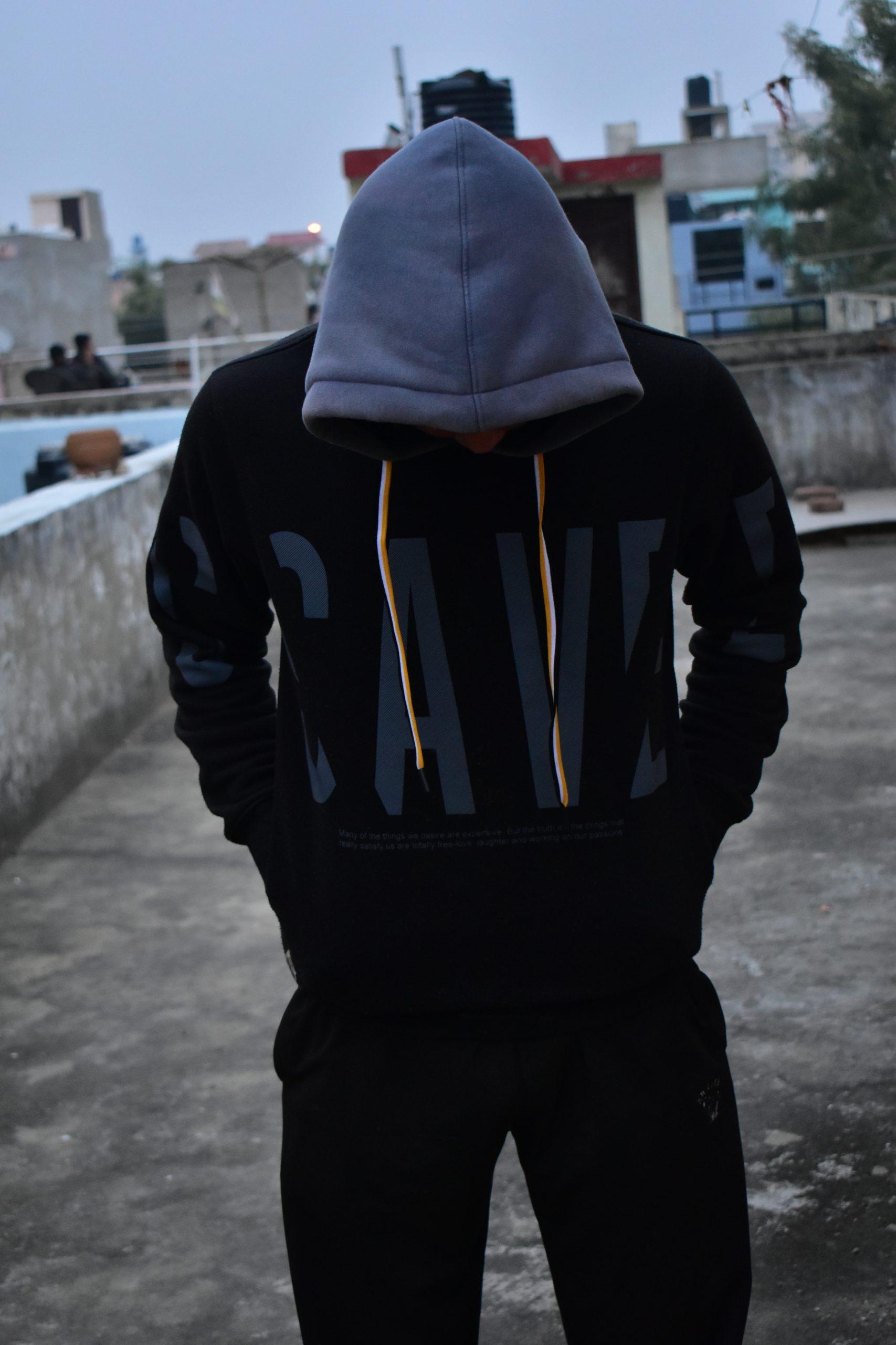 Boy wearing hood