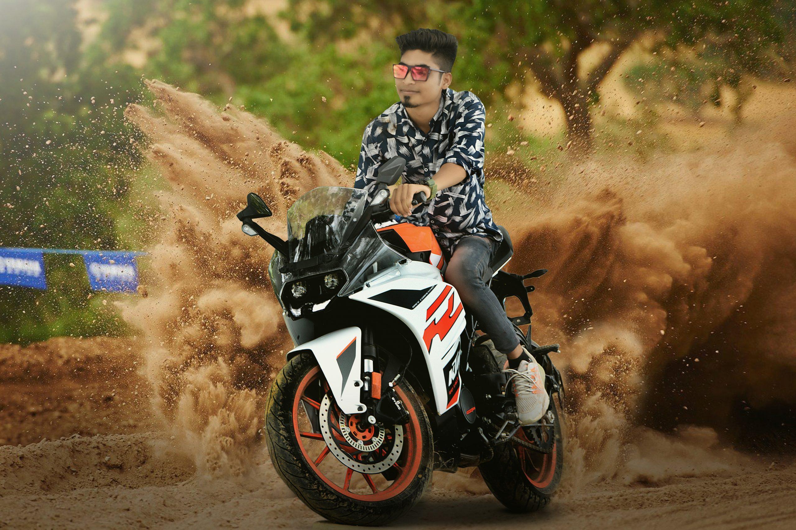 Boy riding KTM bike