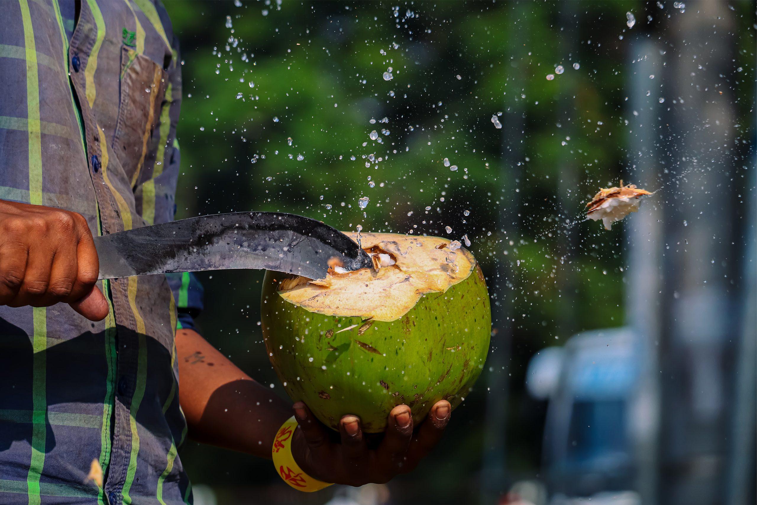 A man cutting coconut fruit shell