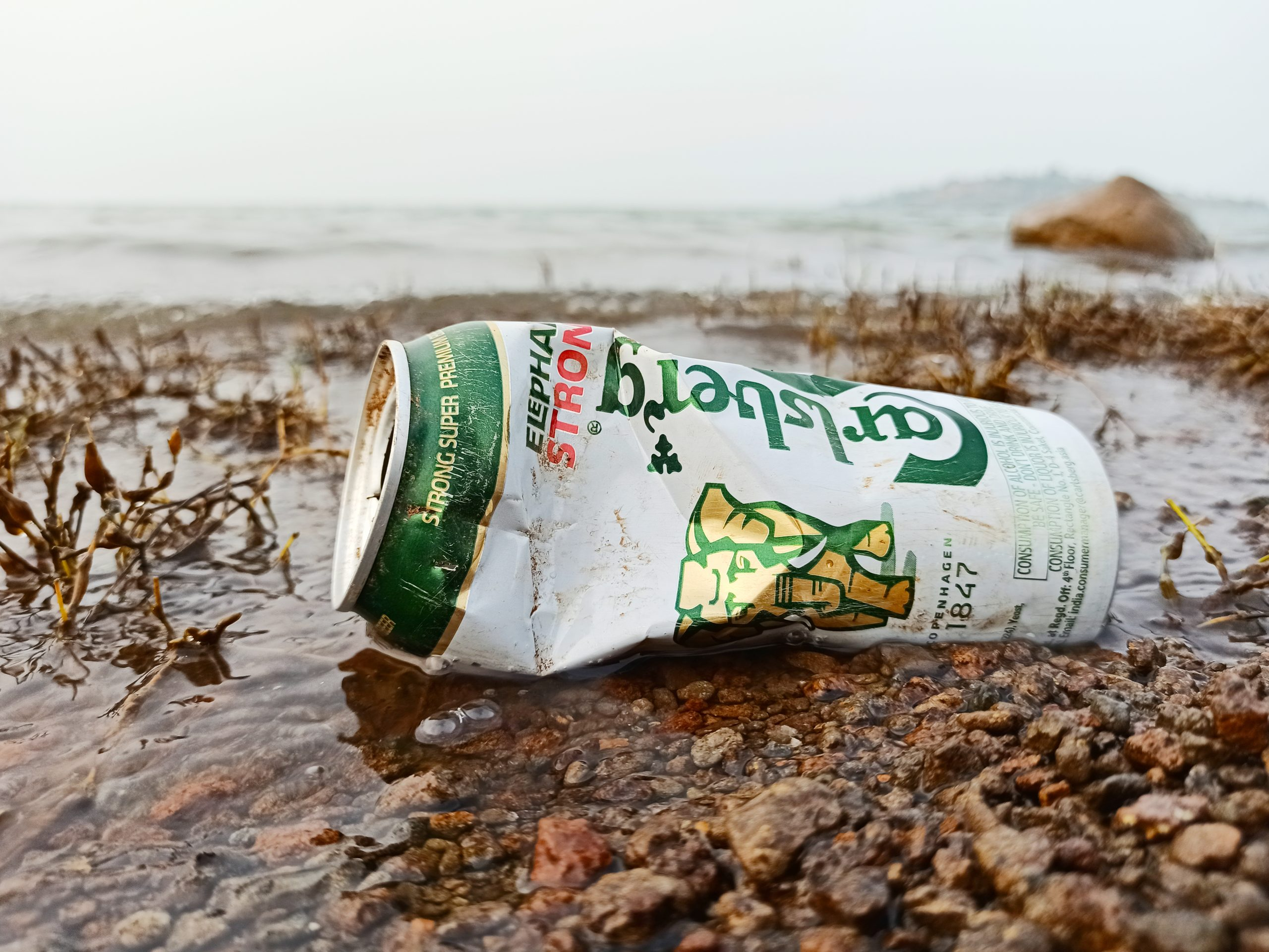 Beer can crushed and thrown on grown
