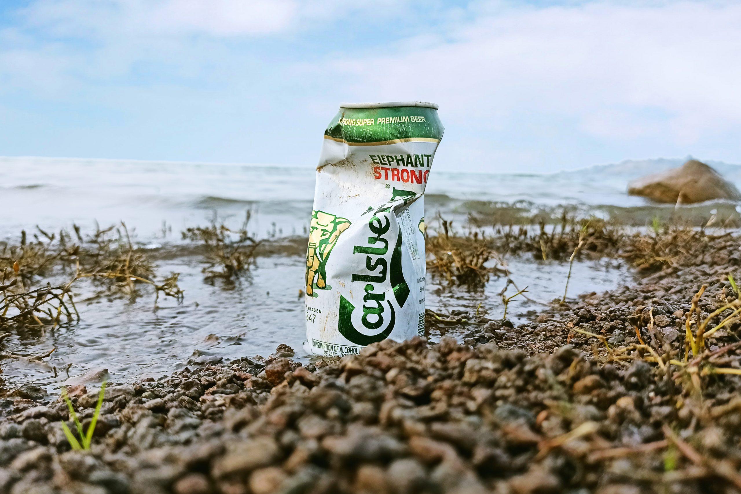 Carlsberg elephant beer cane on beach