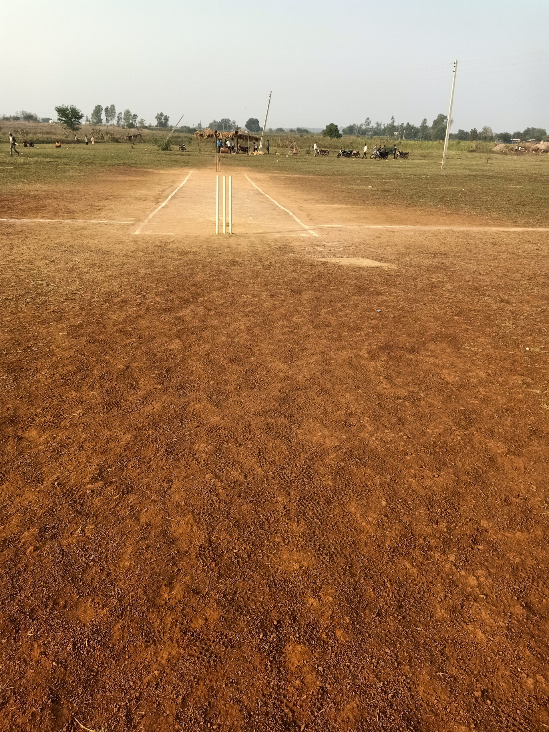 Dirt on a cricket pitch