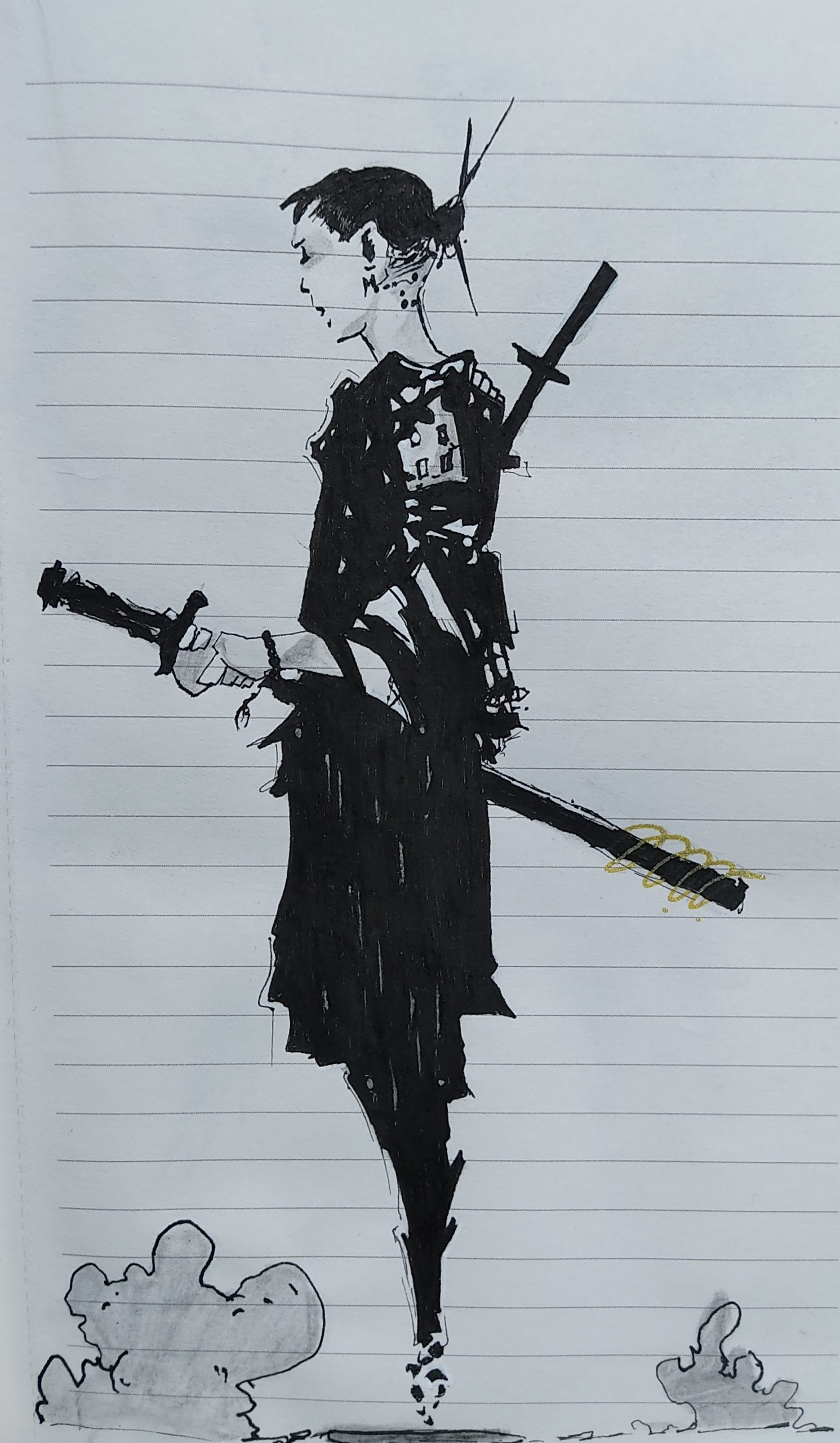 Drawing of a swordsman
