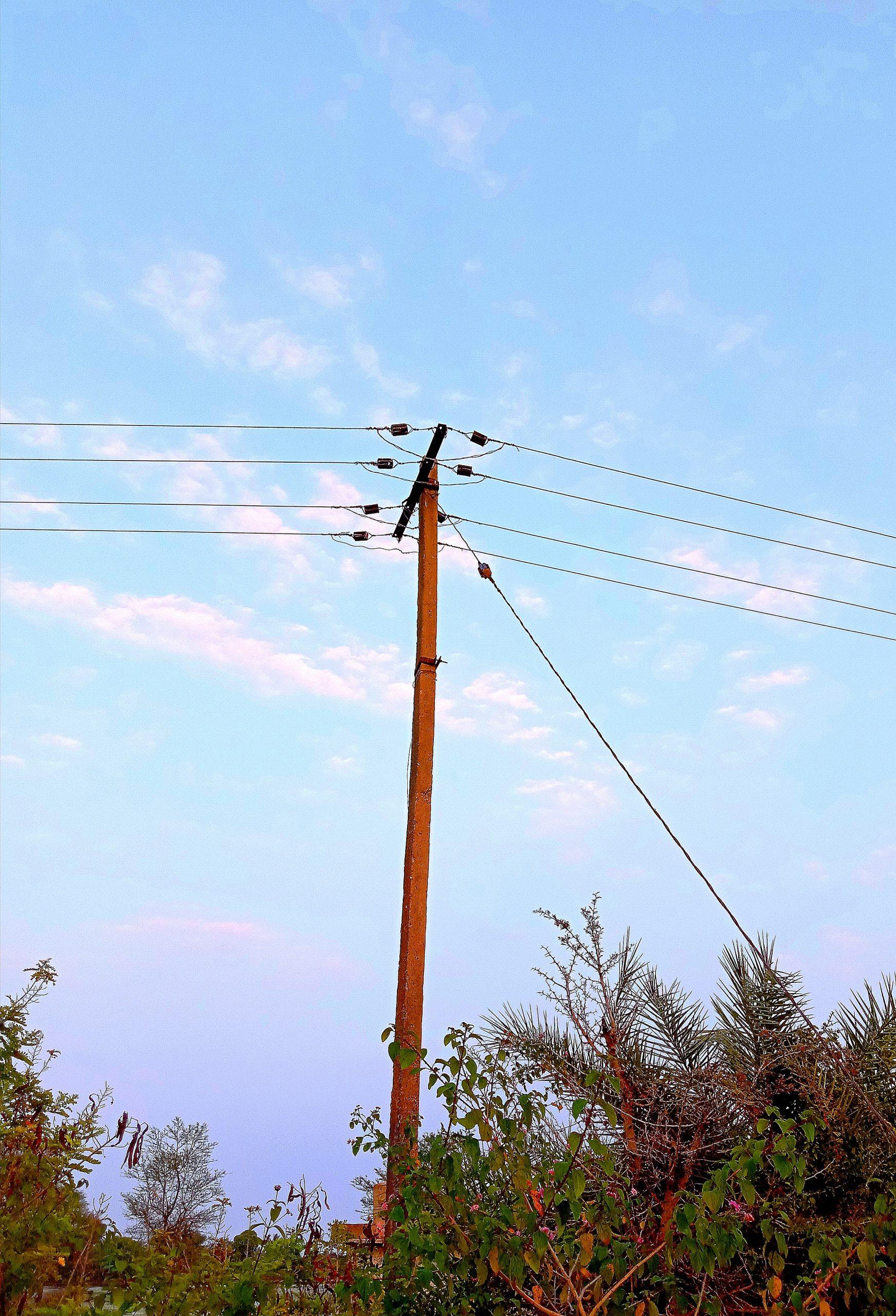 Electric pole in farm